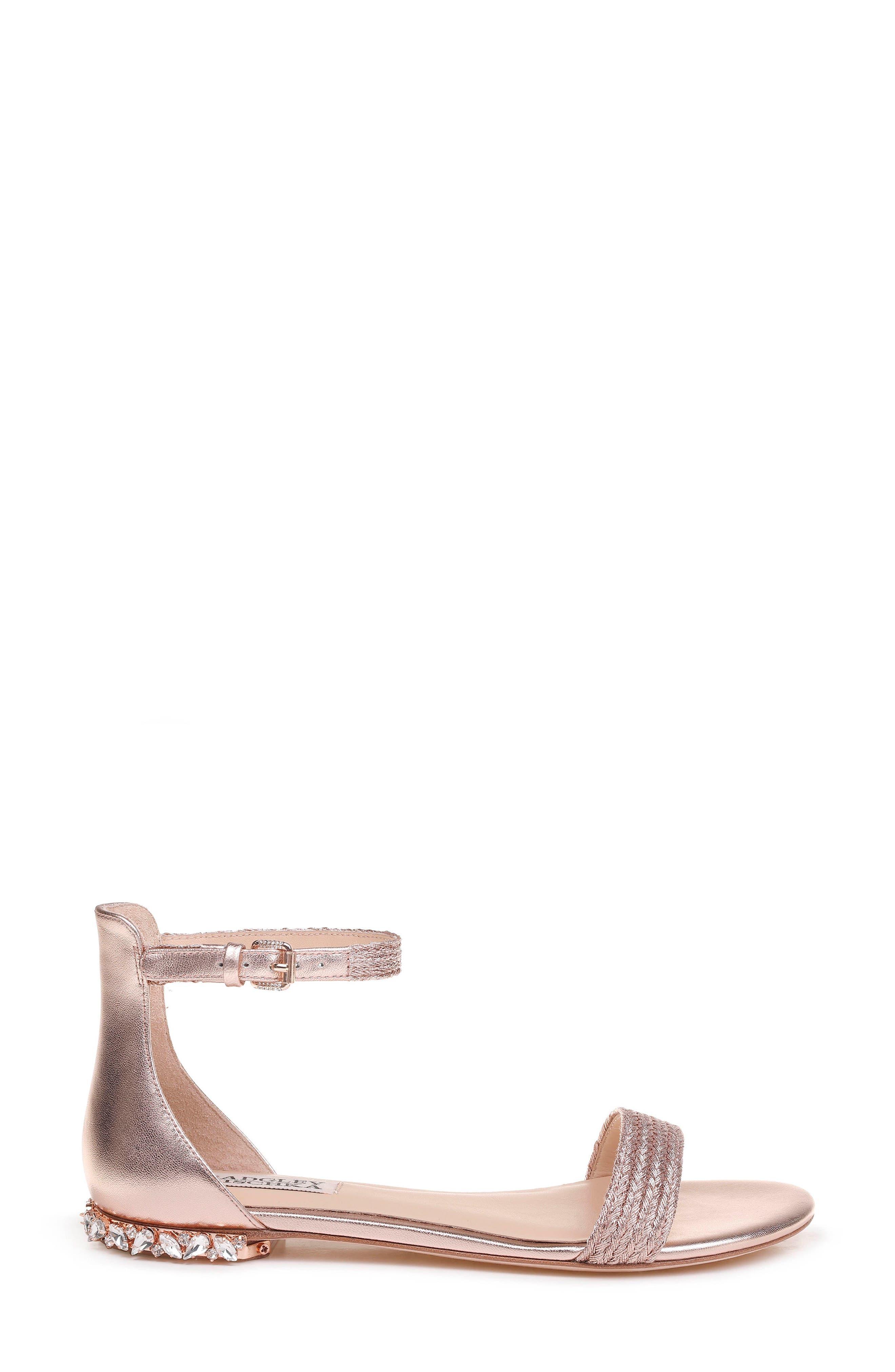 Steffie Ankle Strap Sandal,                             Alternate thumbnail 3, color,                             ROSE GOLD LEATHER