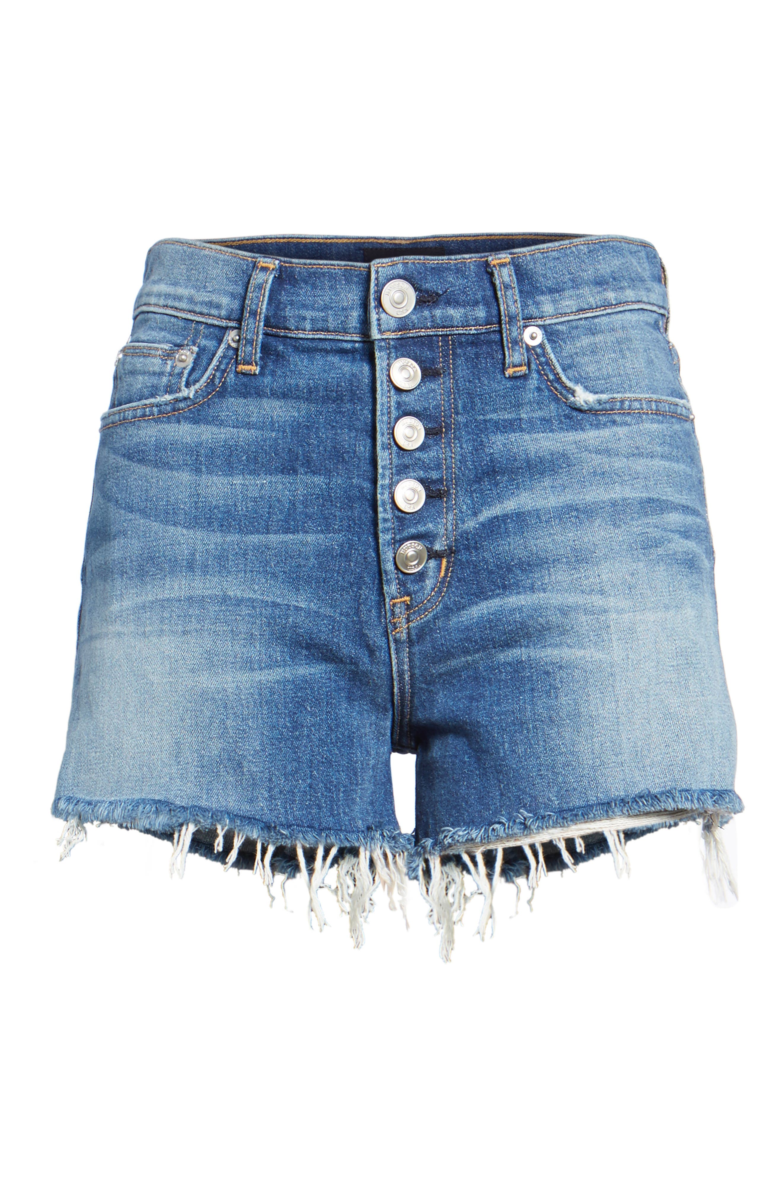 Zoeey High Waist Cutoff Denim Shorts,                             Alternate thumbnail 6, color,                             420