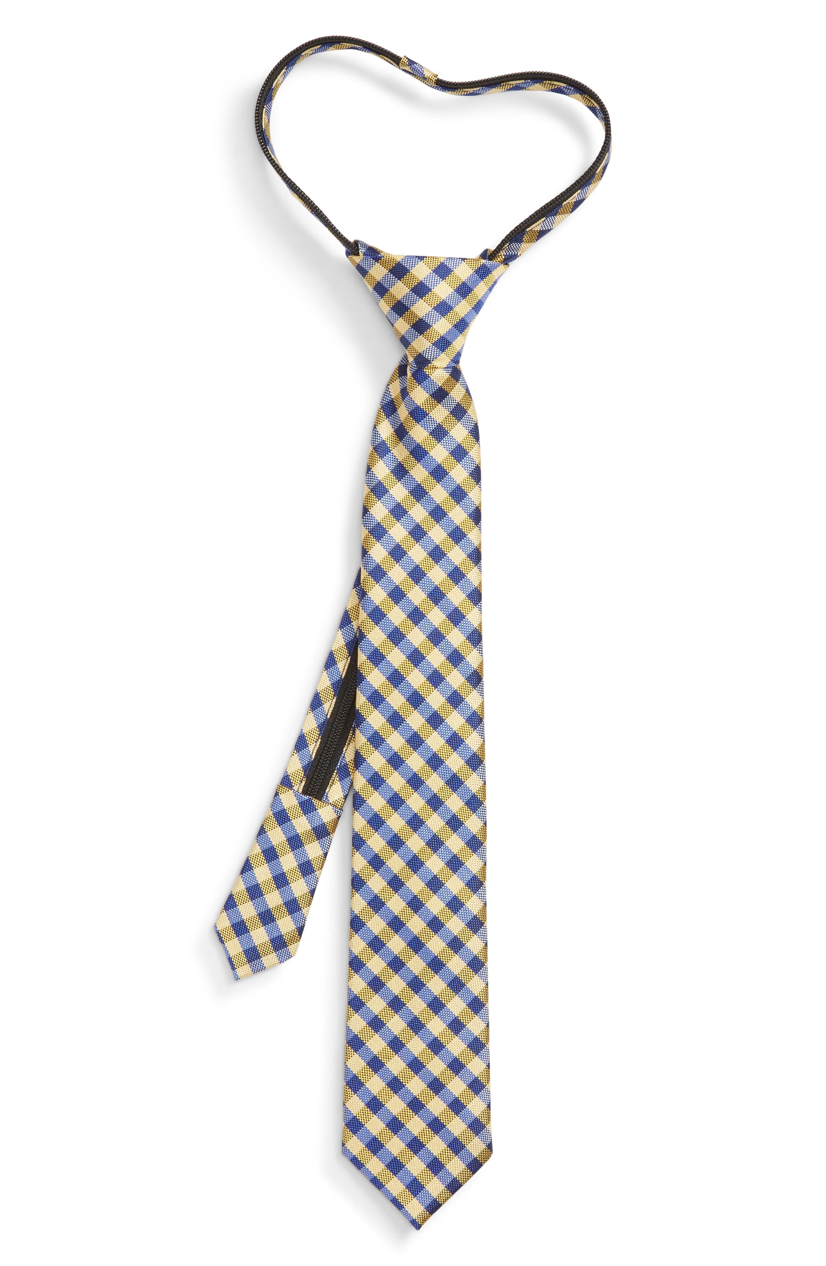 Plaid Silk Zip Tie,                         Main,                         color, YELLOW