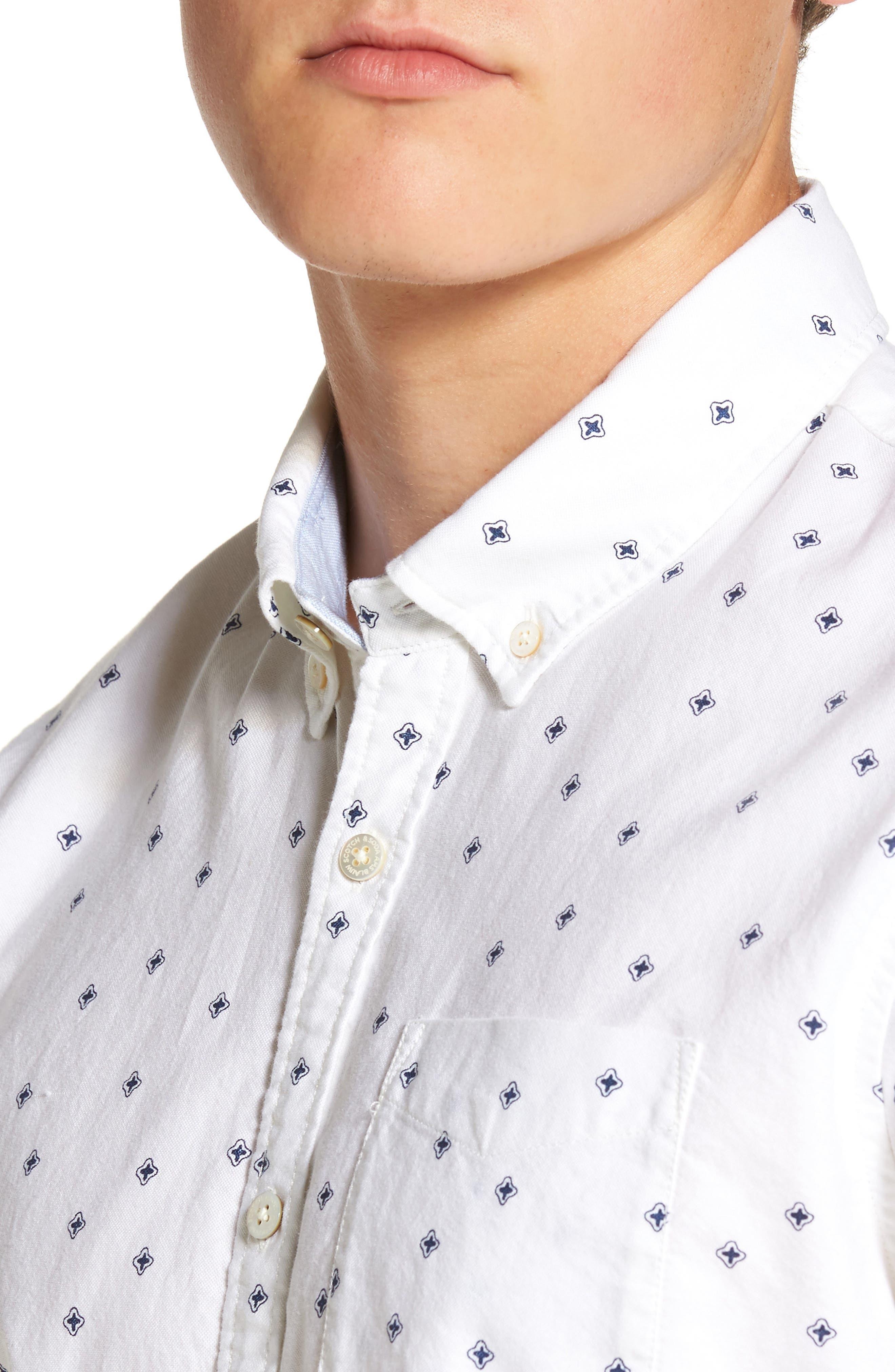 Slim Fit Allover Print Shirt,                             Alternate thumbnail 4, color,                             110