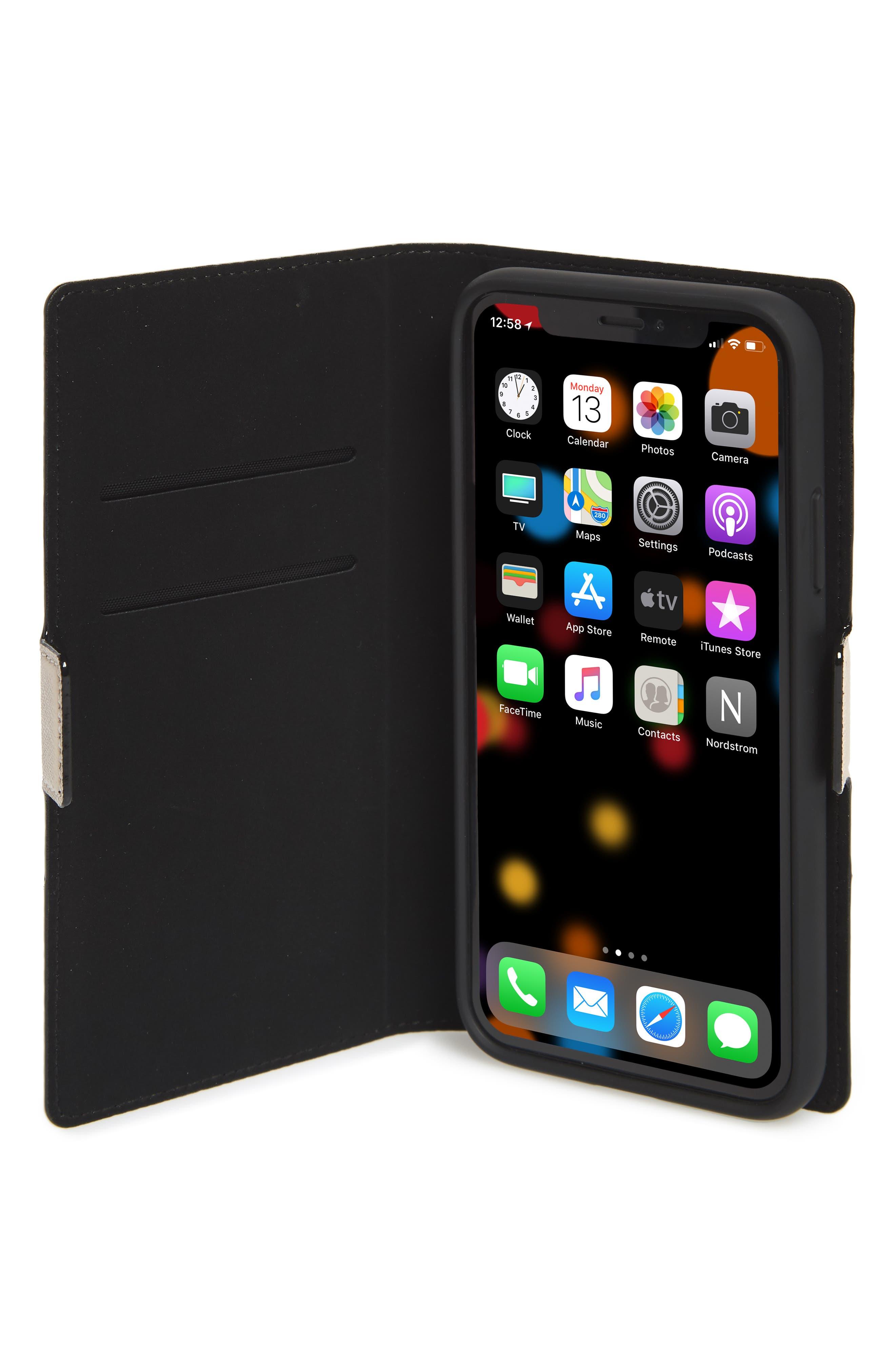 KATE SPADE NEW YORK,                             iPhone X/Xs/Xs Max & XR magnetic wrap folio case,                             Alternate thumbnail 2, color,                             BLACK/ TUSK