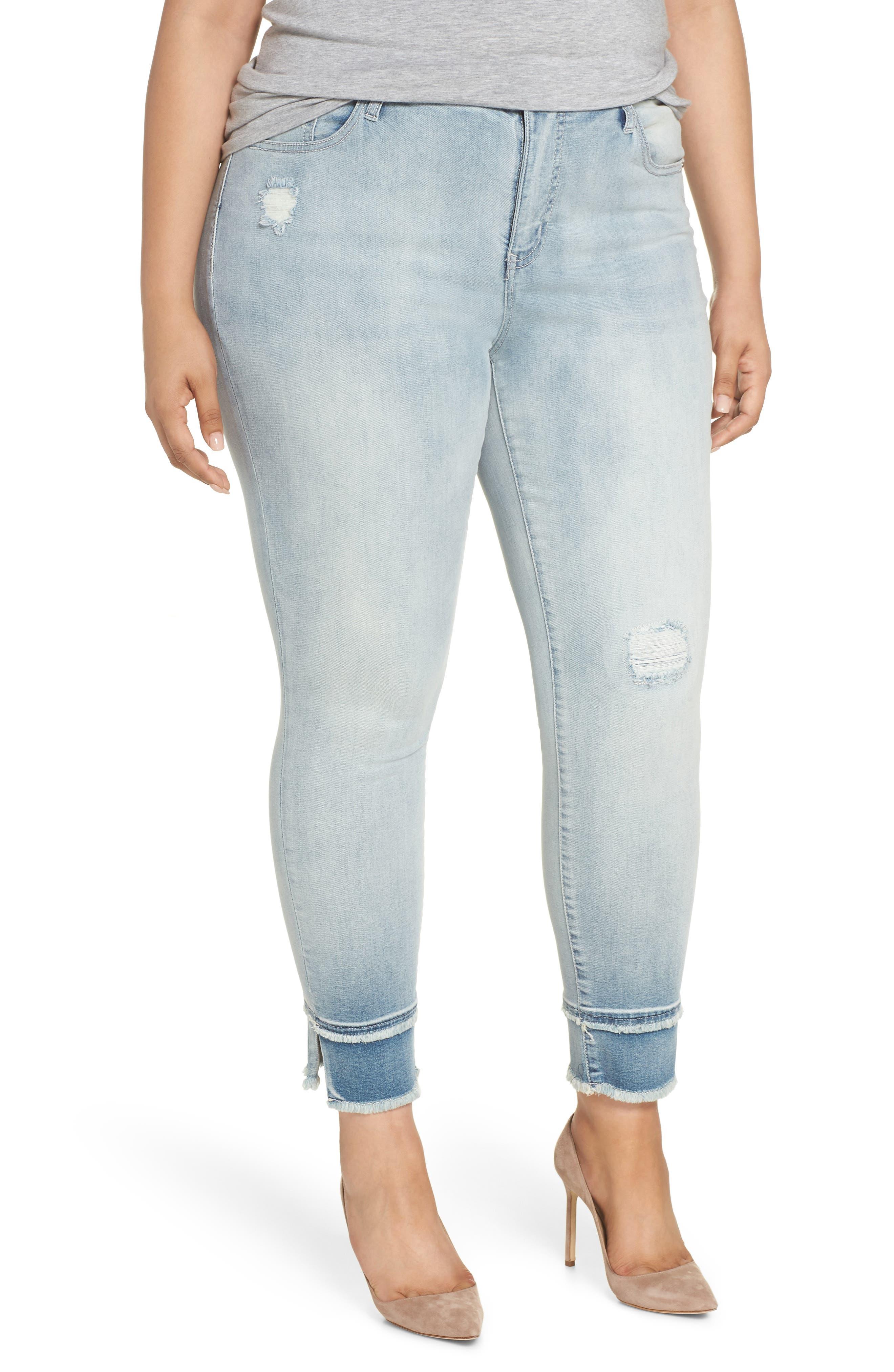 Double Raw Hem High Waist Skinny Jeans,                             Main thumbnail 1, color,                             SAWYER