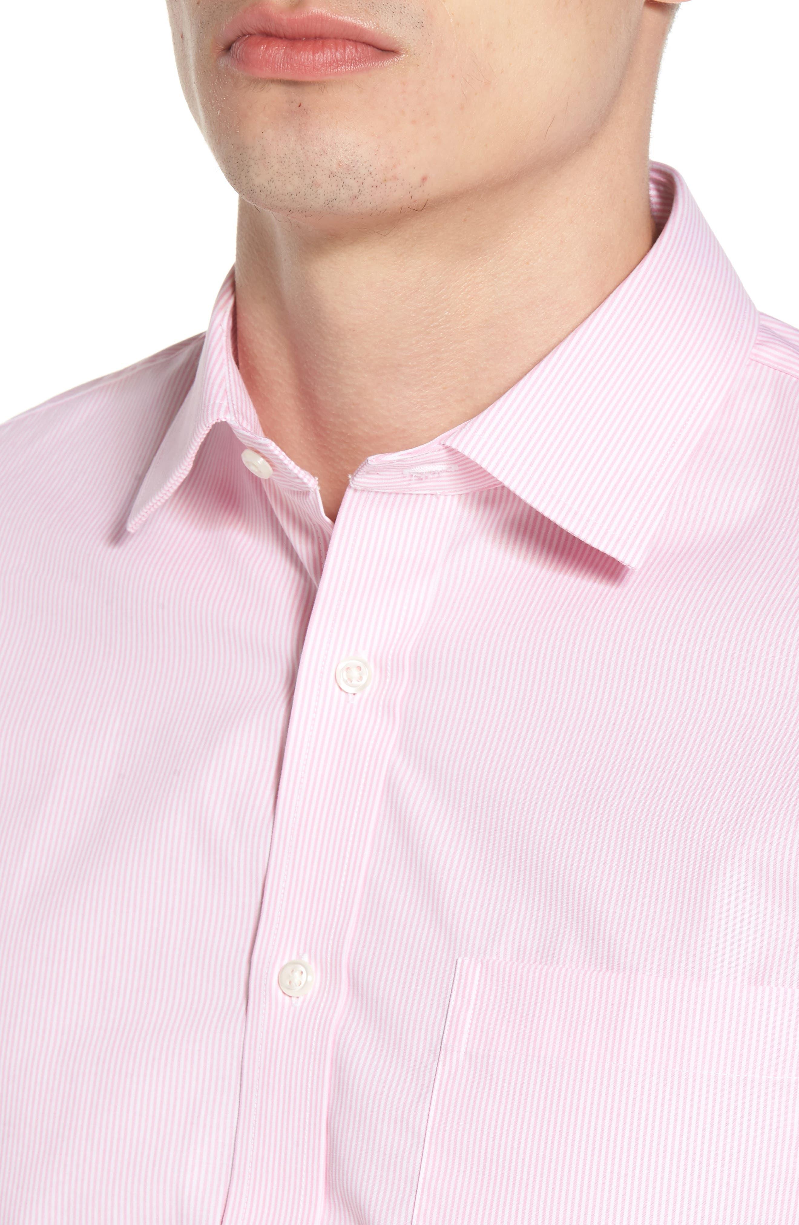 Trim Fit Non-Iron Stripe Dress Shirt,                             Alternate thumbnail 12, color,