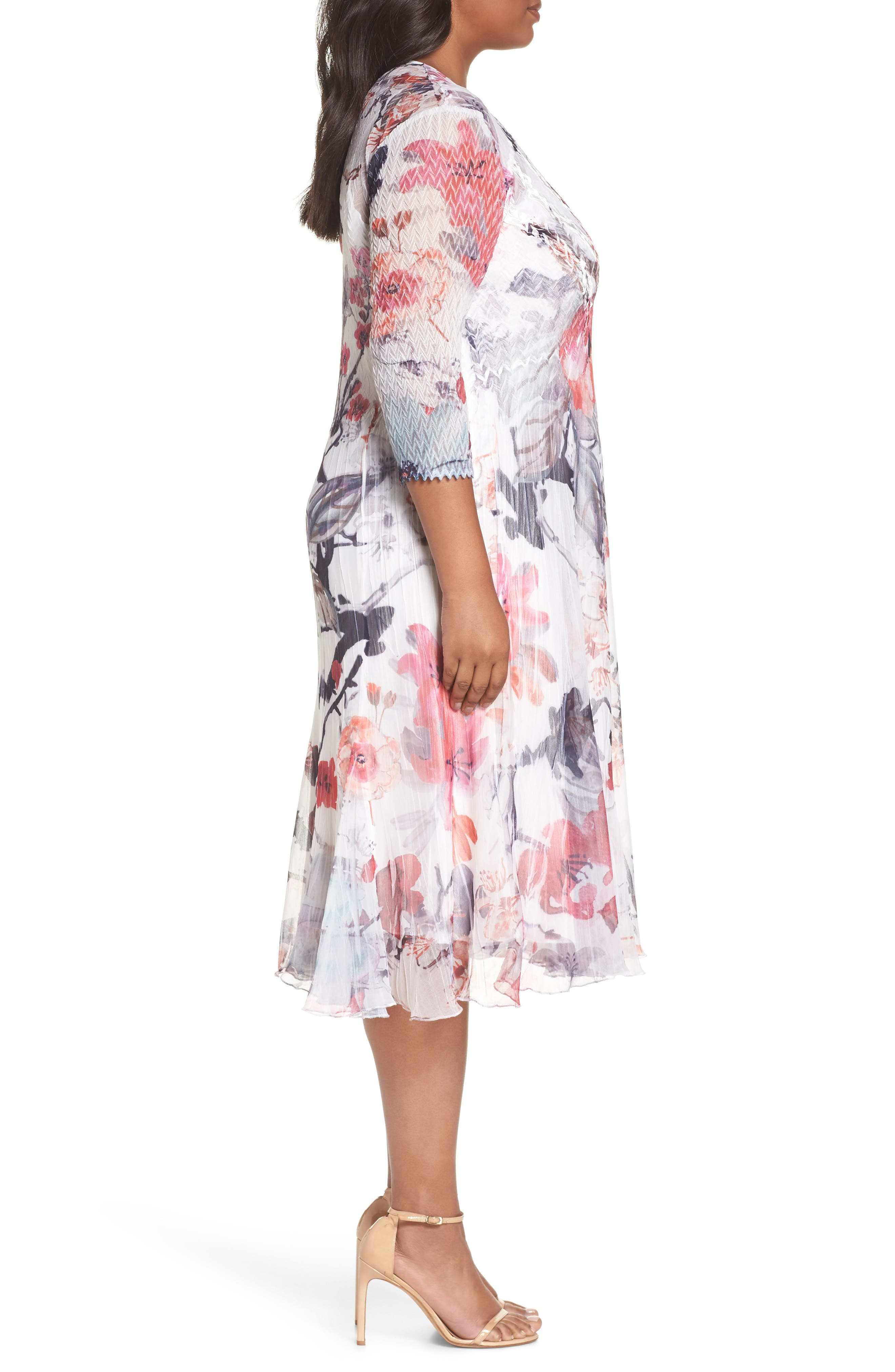Charmeuse & Chiffon Dress,                             Alternate thumbnail 3, color,                             PAINTED MEADOW