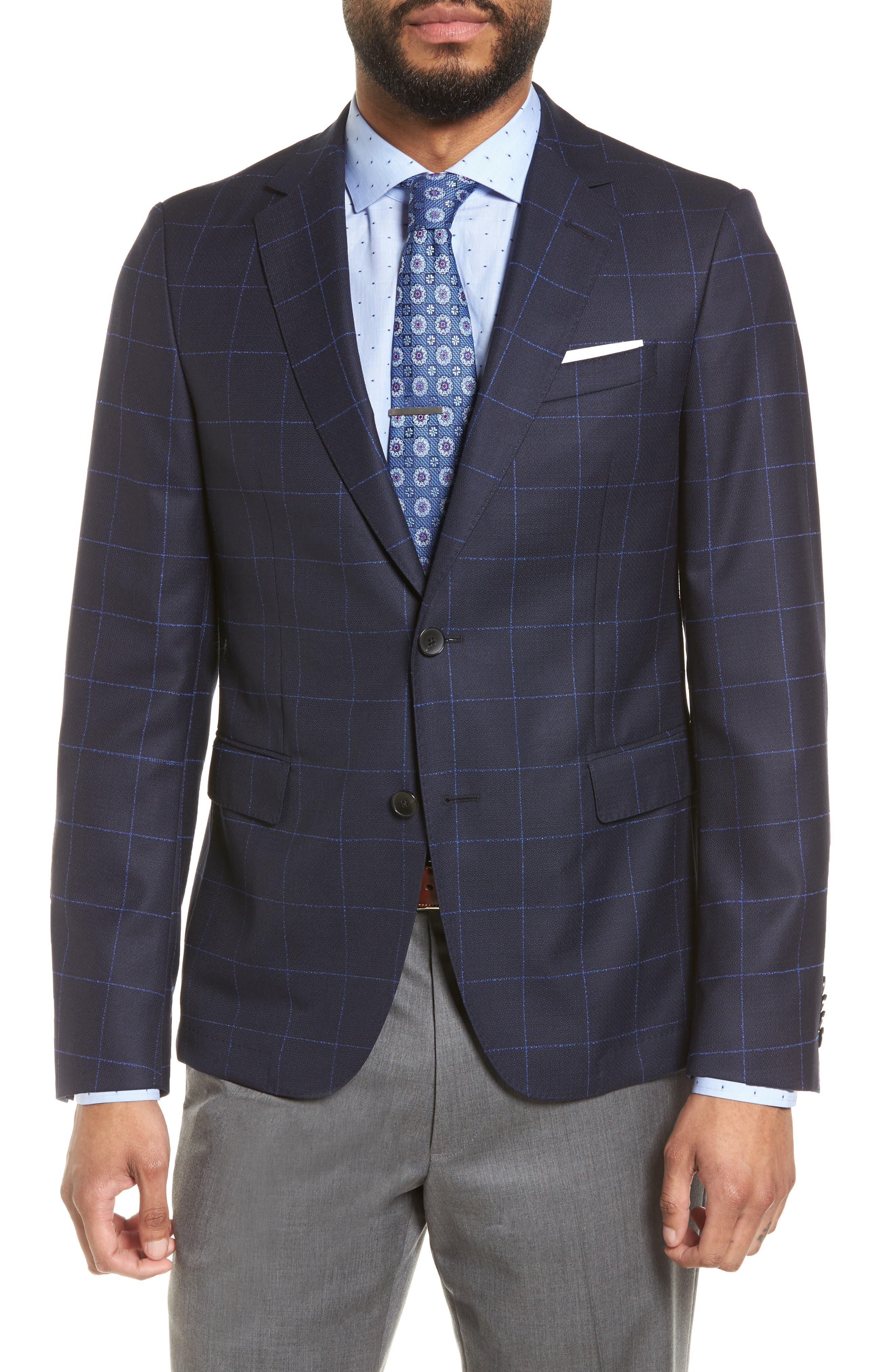 Nordstrom x BOSS Nobis Trim Fit Check Wool Sport Coat,                             Main thumbnail 1, color,