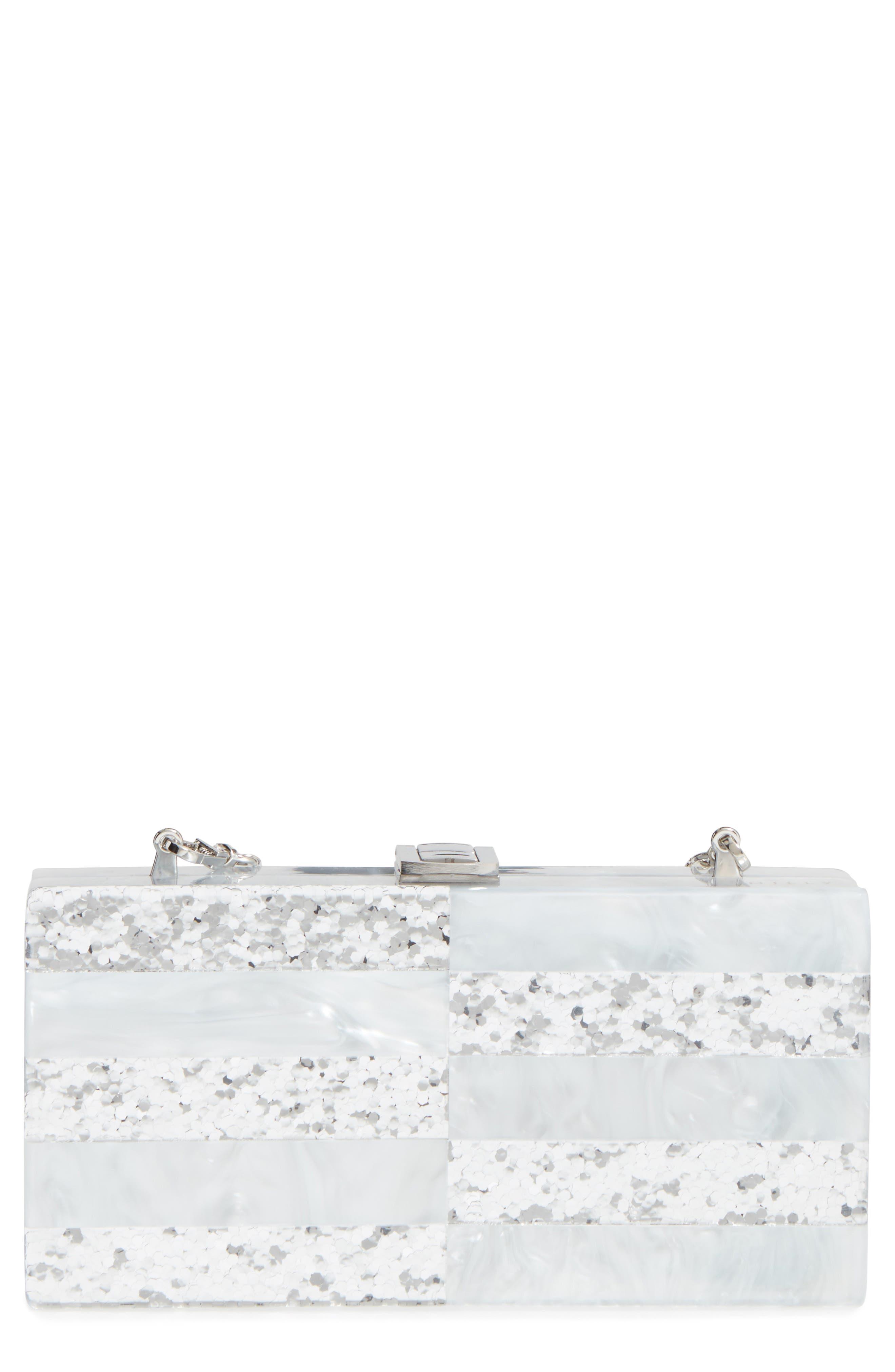 Acrylic & Glitter Box Clutch,                             Main thumbnail 1, color,                             100