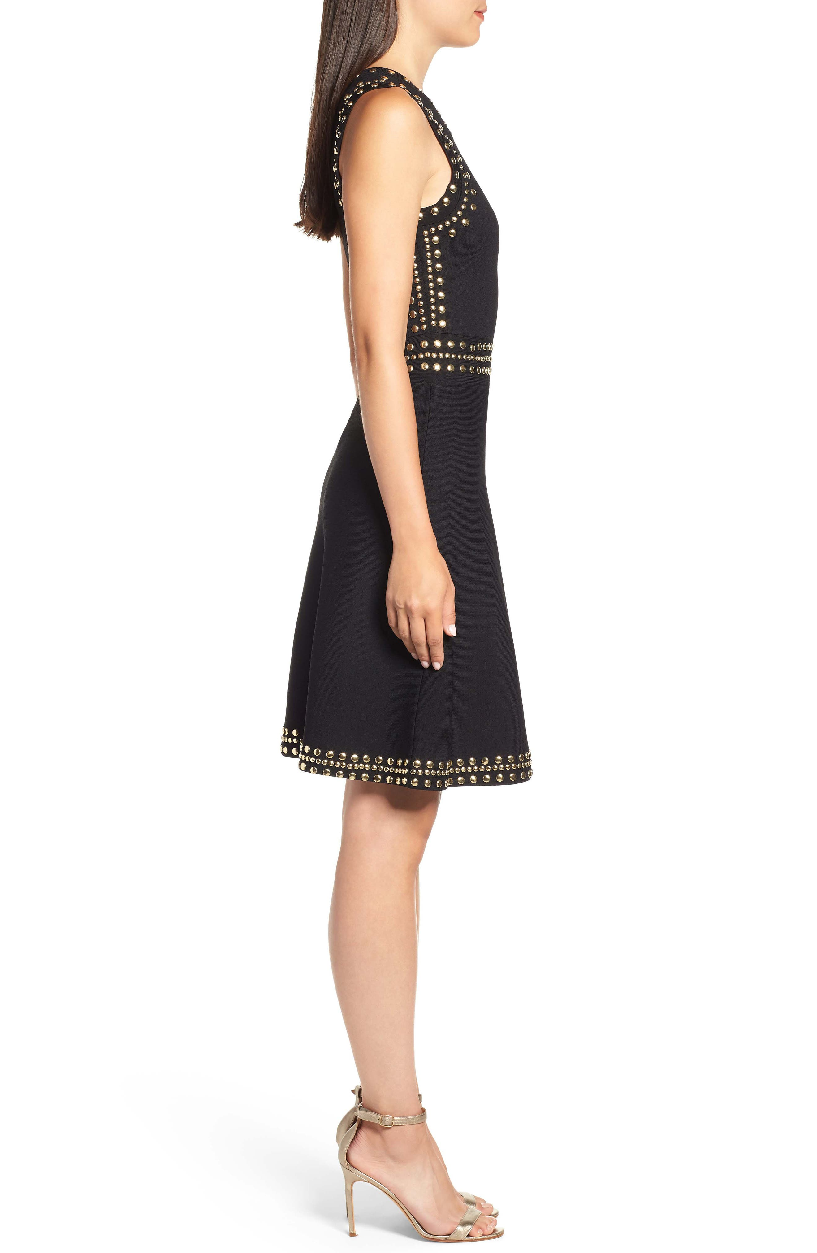 Studded Fit & Flare Dress,                             Alternate thumbnail 3, color,                             008
