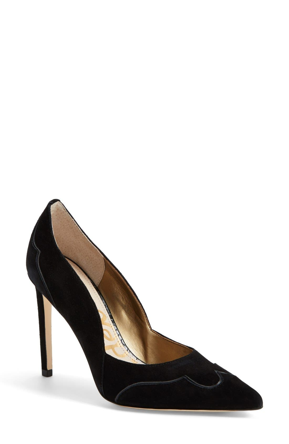 'Dixie' Suede Pointy Toe Pump,                             Main thumbnail 1, color,                             002