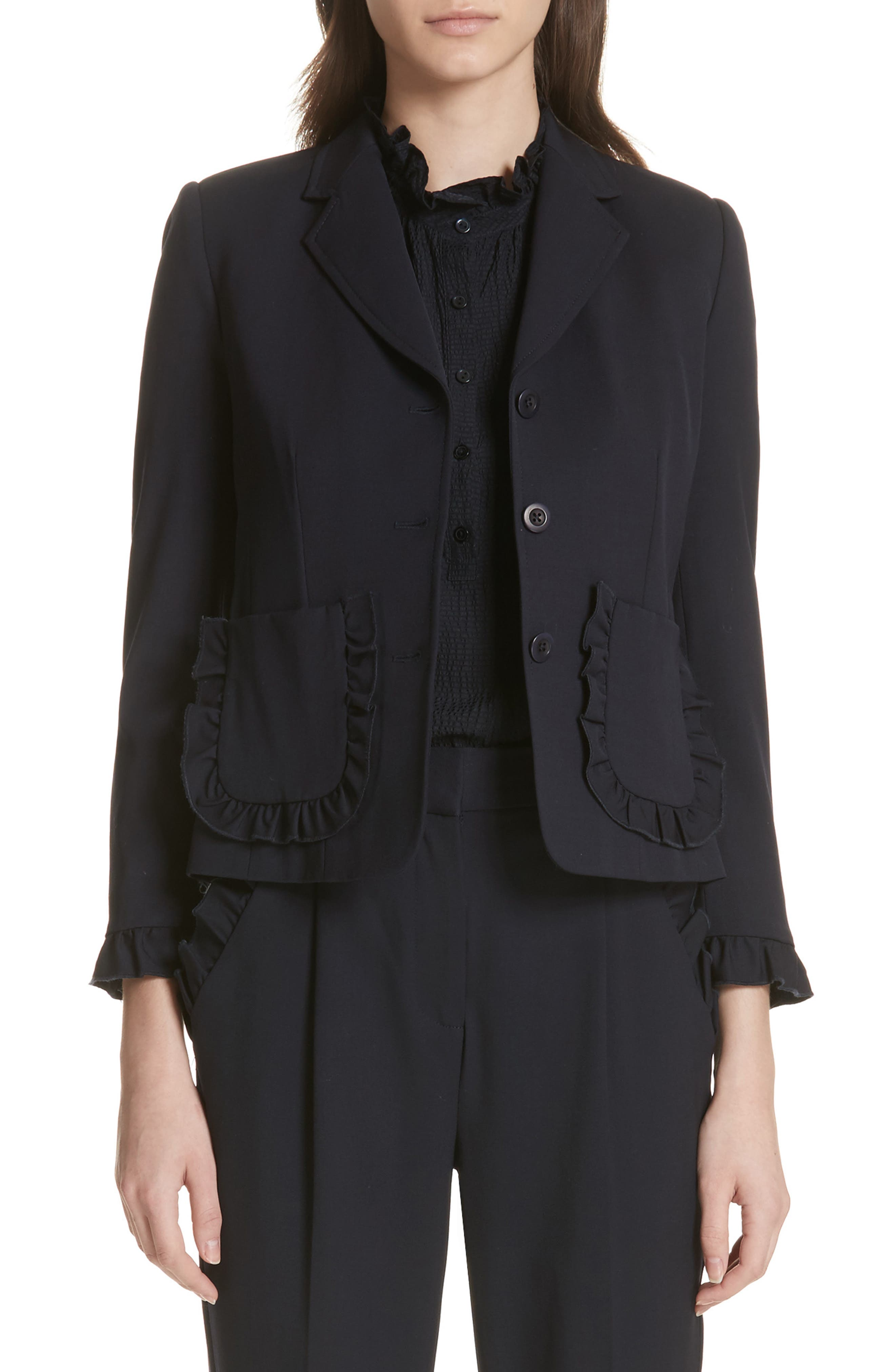 Ruffle Trim Jacket,                         Main,                         color,