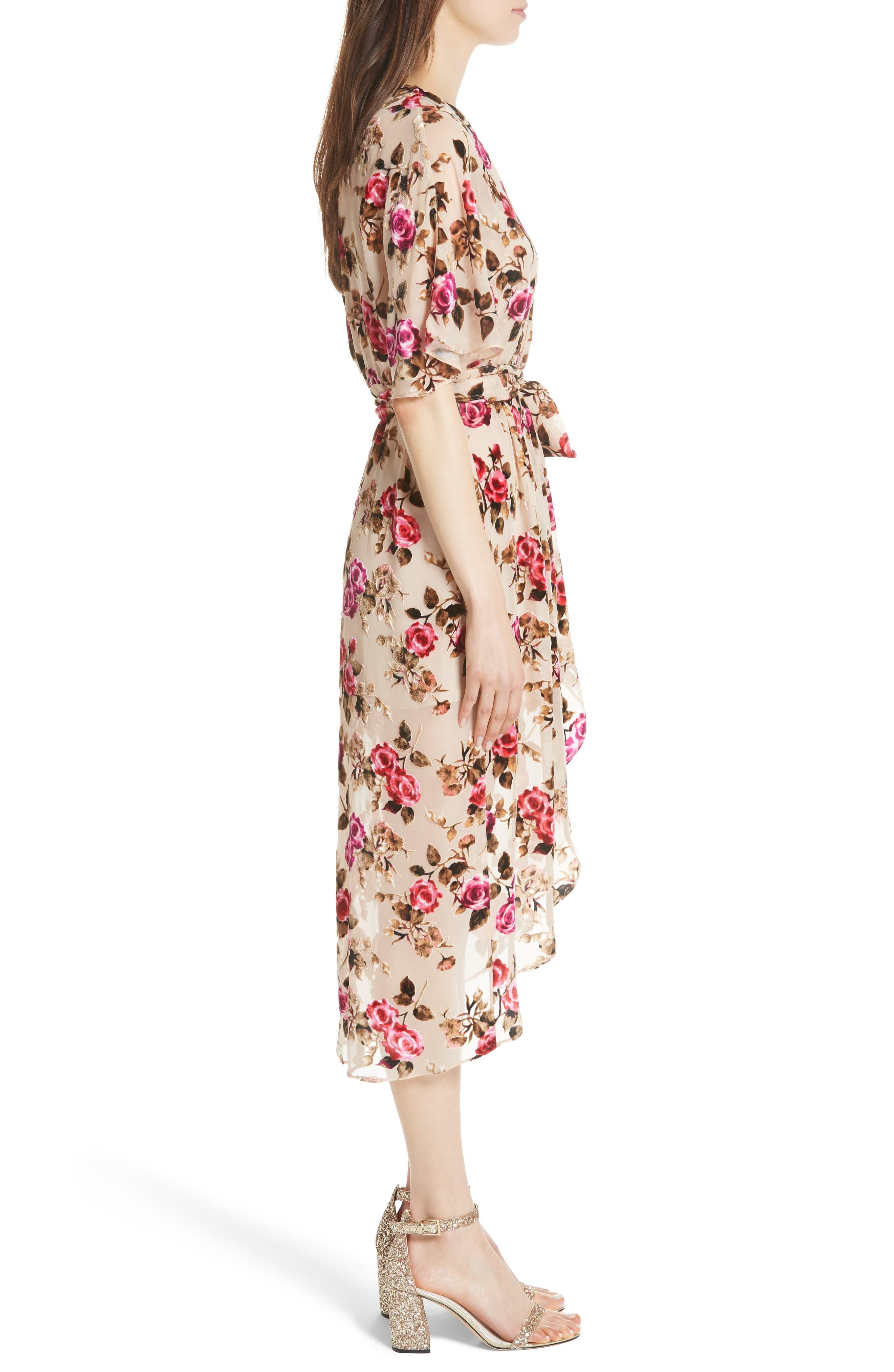 ALICE + OLIVIA,                             Clarine Floral Faux Wrap Dress,                             Alternate thumbnail 4, color,                             251