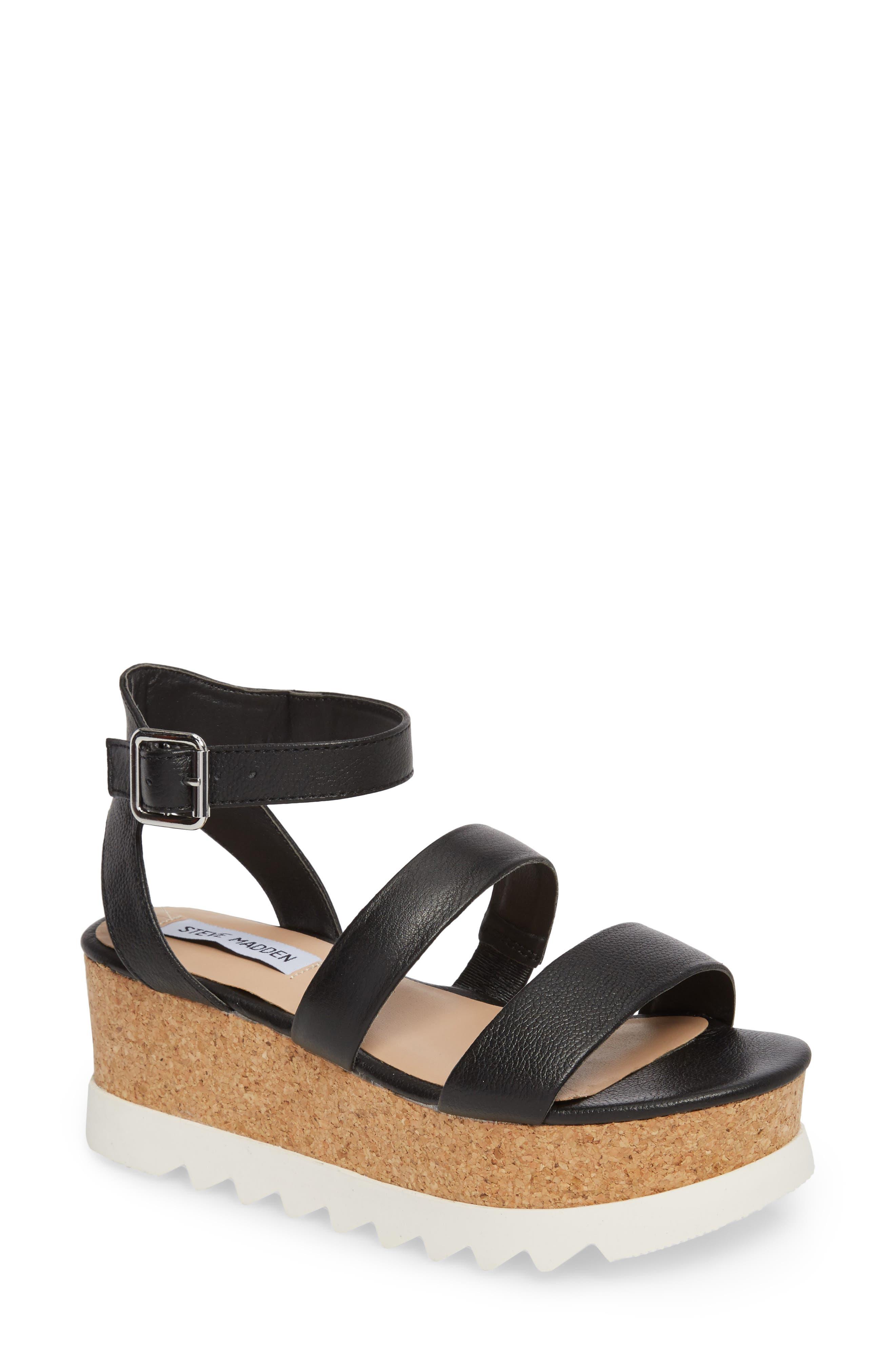 Kirsten Layered Platform Sandal,                             Main thumbnail 1, color,                             001