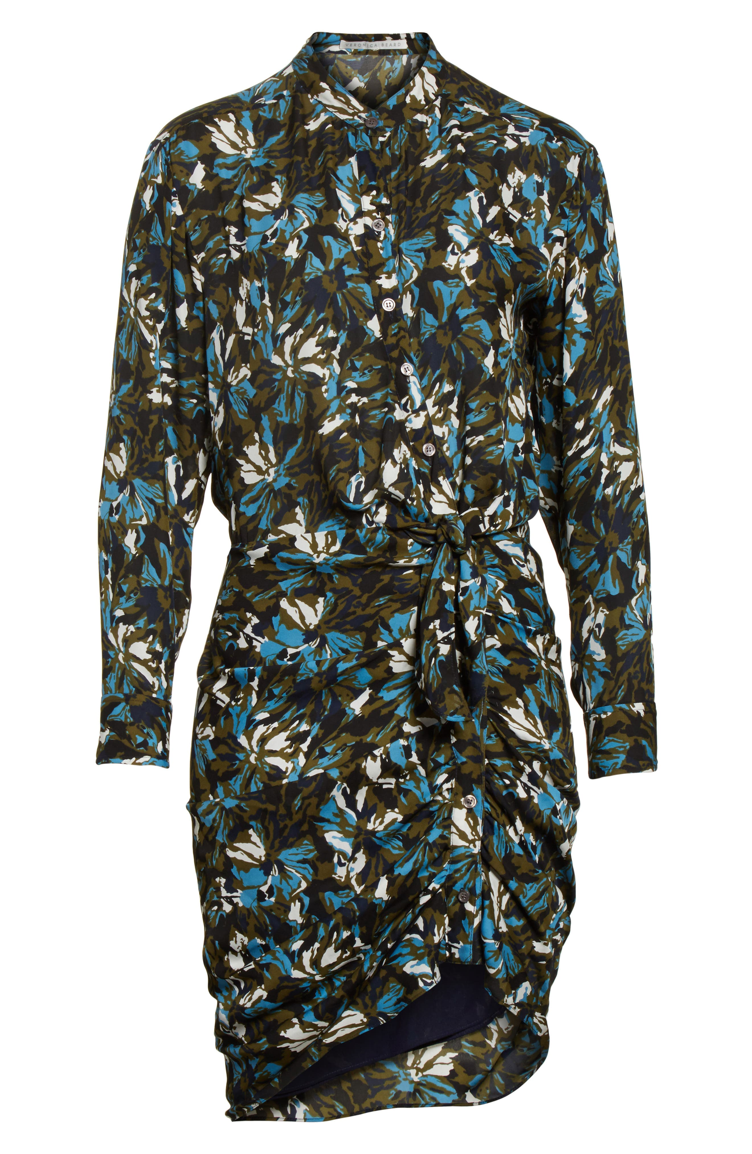 Georgina Floral Print Silk Dress,                             Alternate thumbnail 6, color,                             414