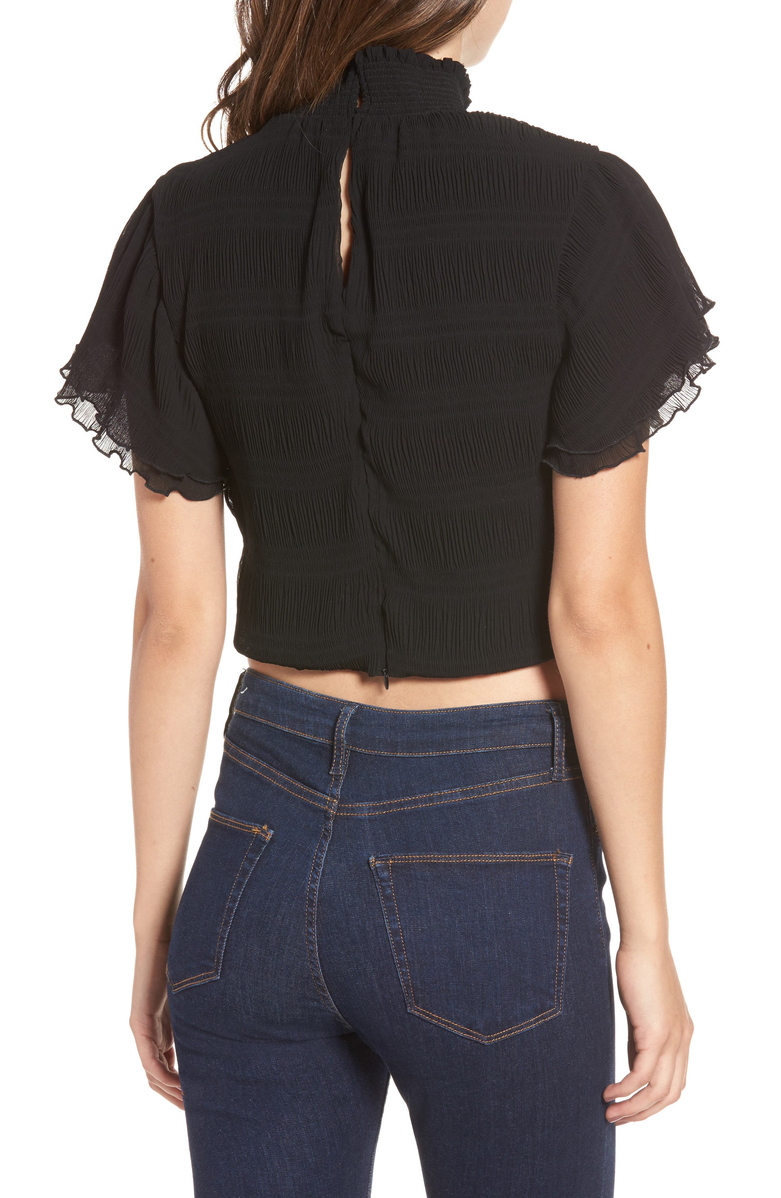Smocked Neck Crop Top,                             Alternate thumbnail 2, color,                             001