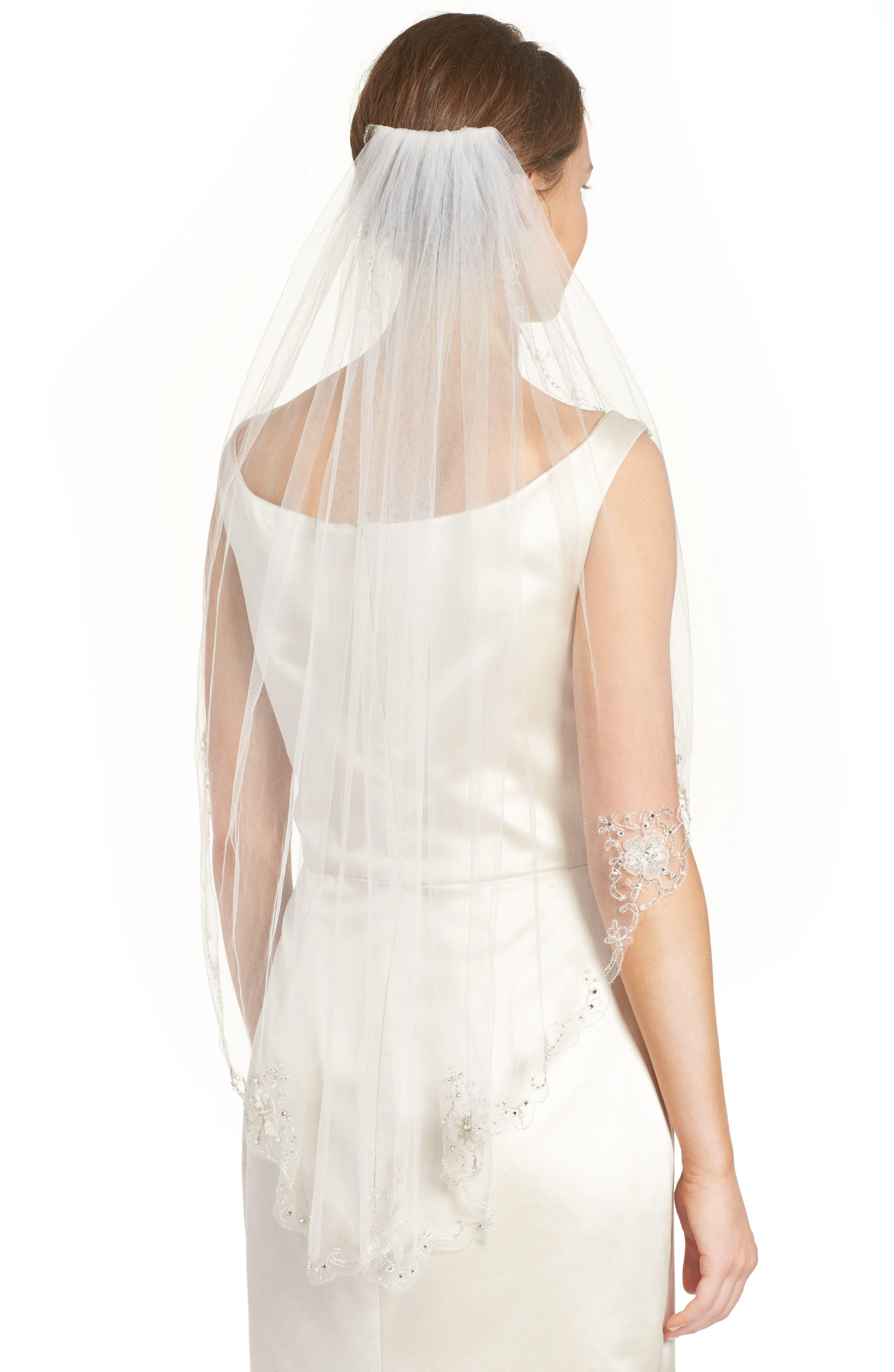 Marina Embellished Veil,                         Main,                         color, 901