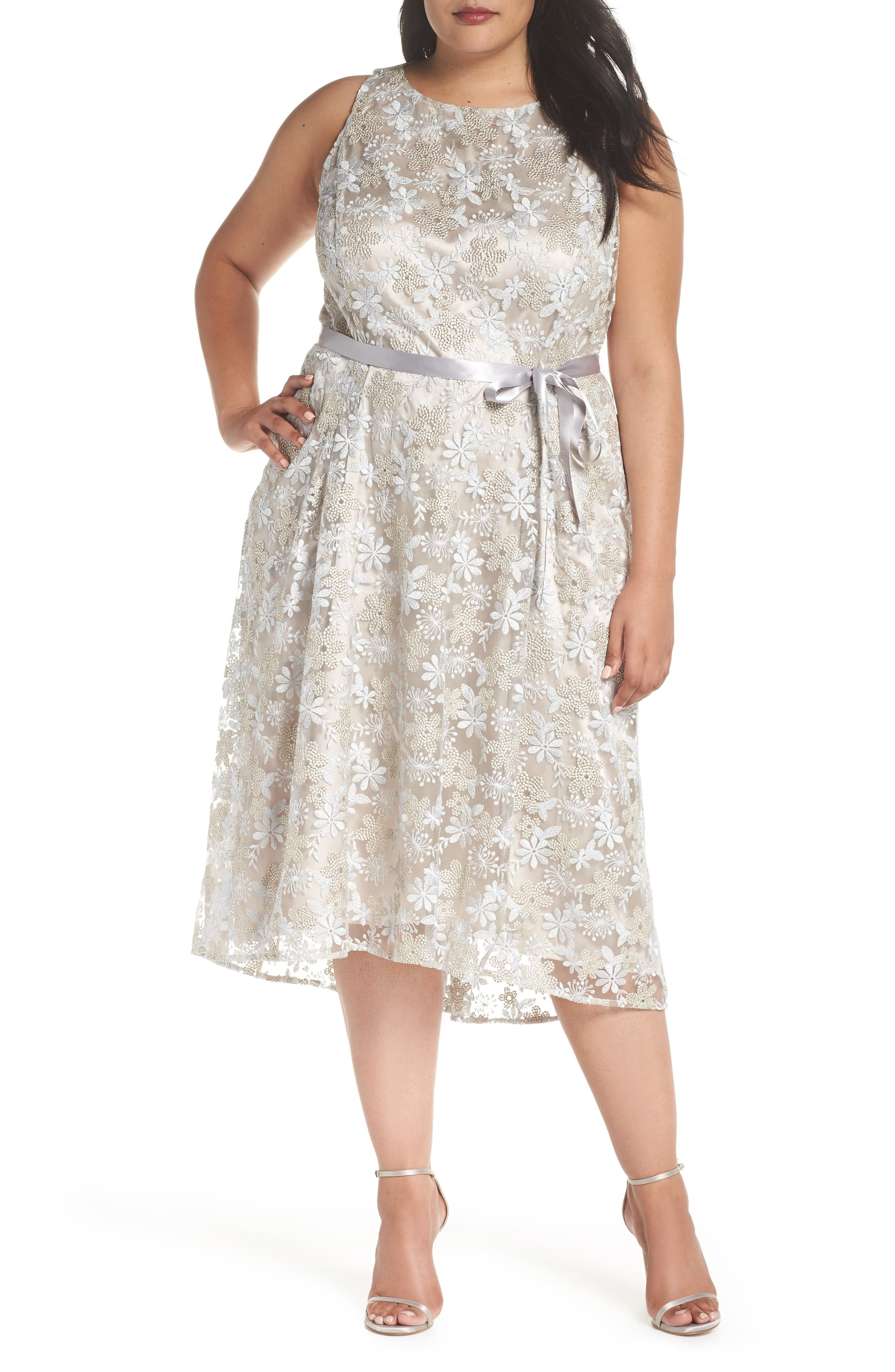 Sleeveless Embroidered Midi Dress,                             Main thumbnail 1, color,                             048
