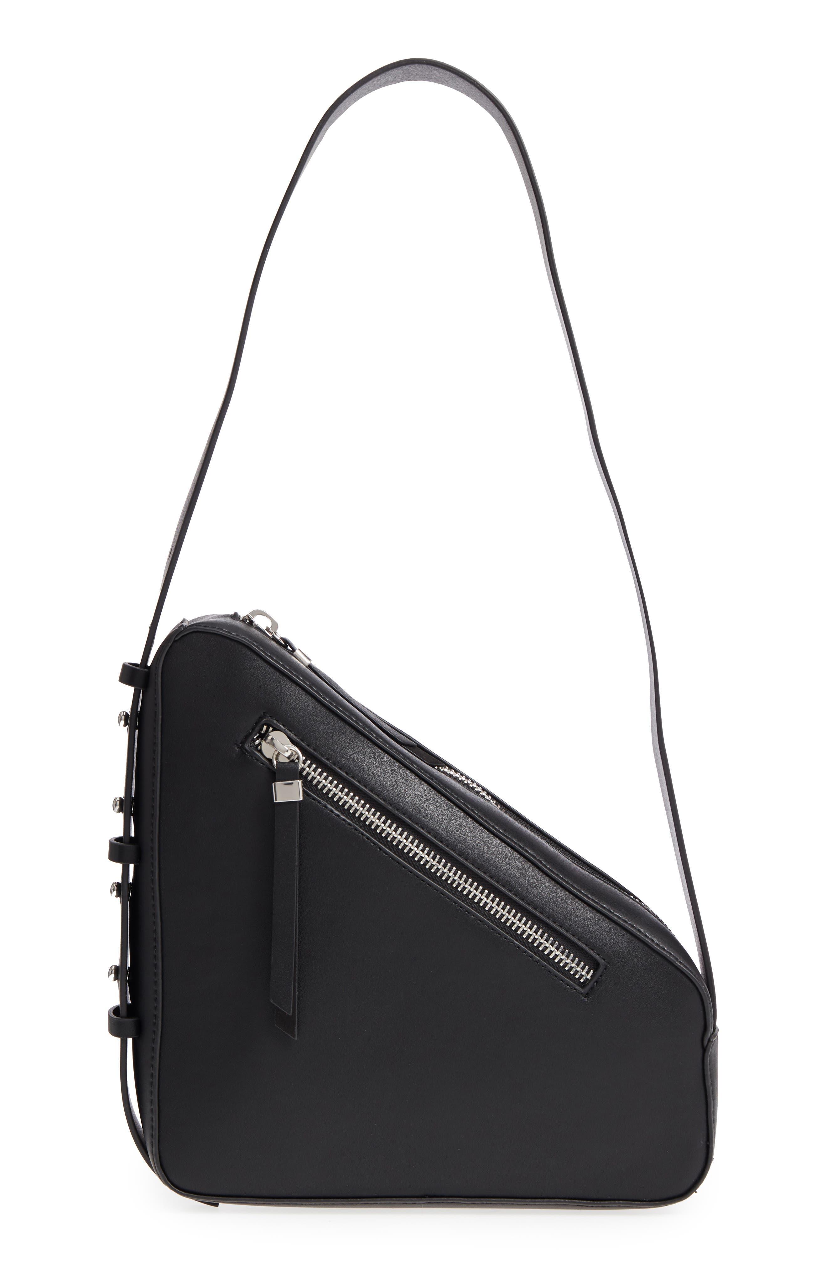 TOPSHOP Triangle Zip Shoulder Bag, Main, color, 001