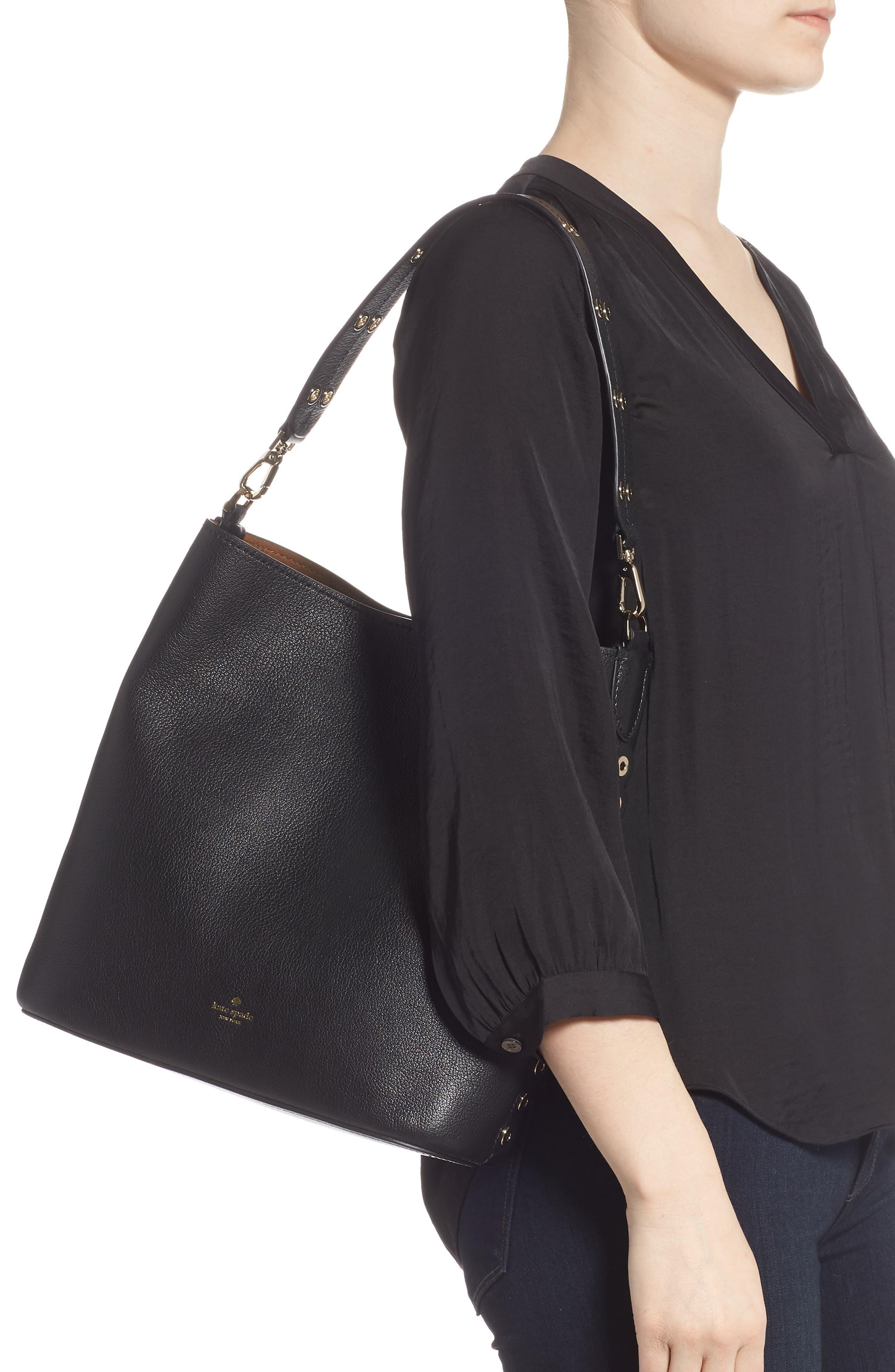 atlantic avenue libby grommet leather tote,                             Alternate thumbnail 2, color,                             BLACK