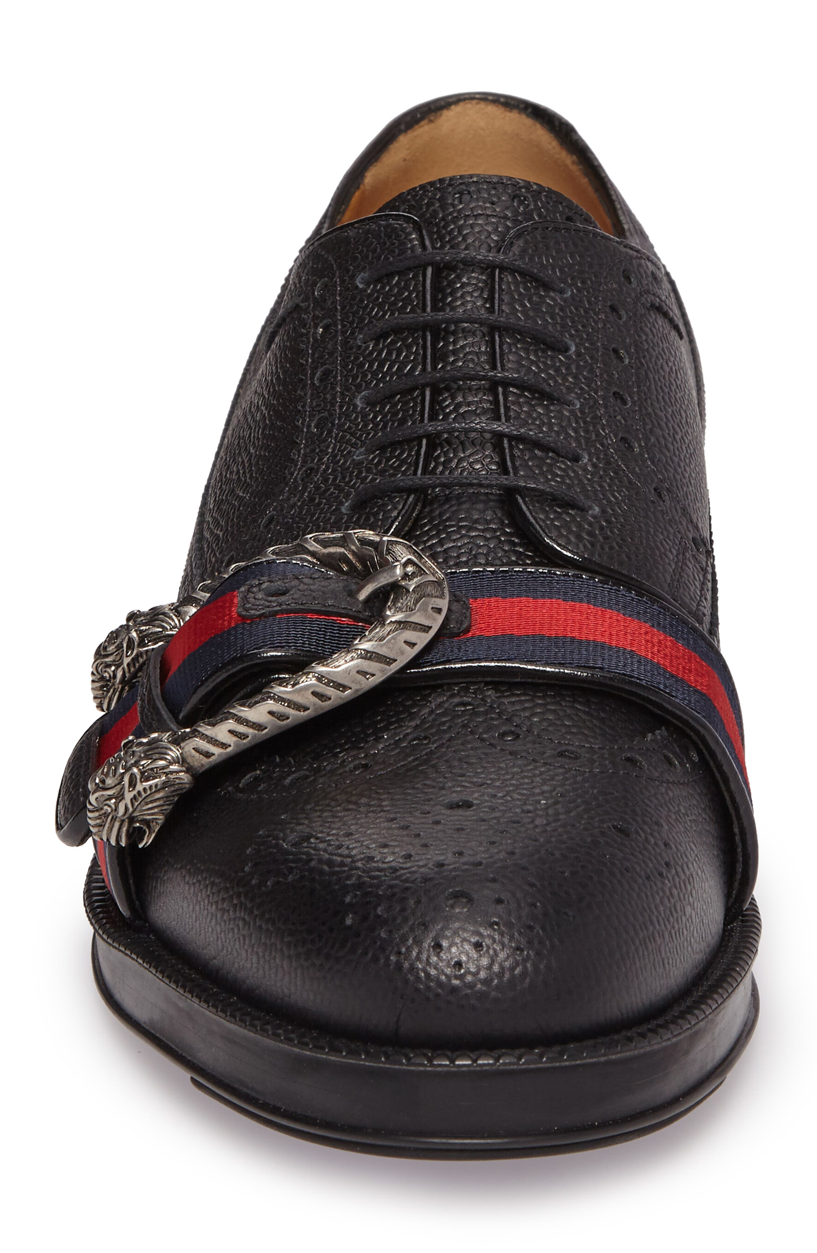 Web Detail Leather Brogue Derby,                             Alternate thumbnail 4, color,                             008