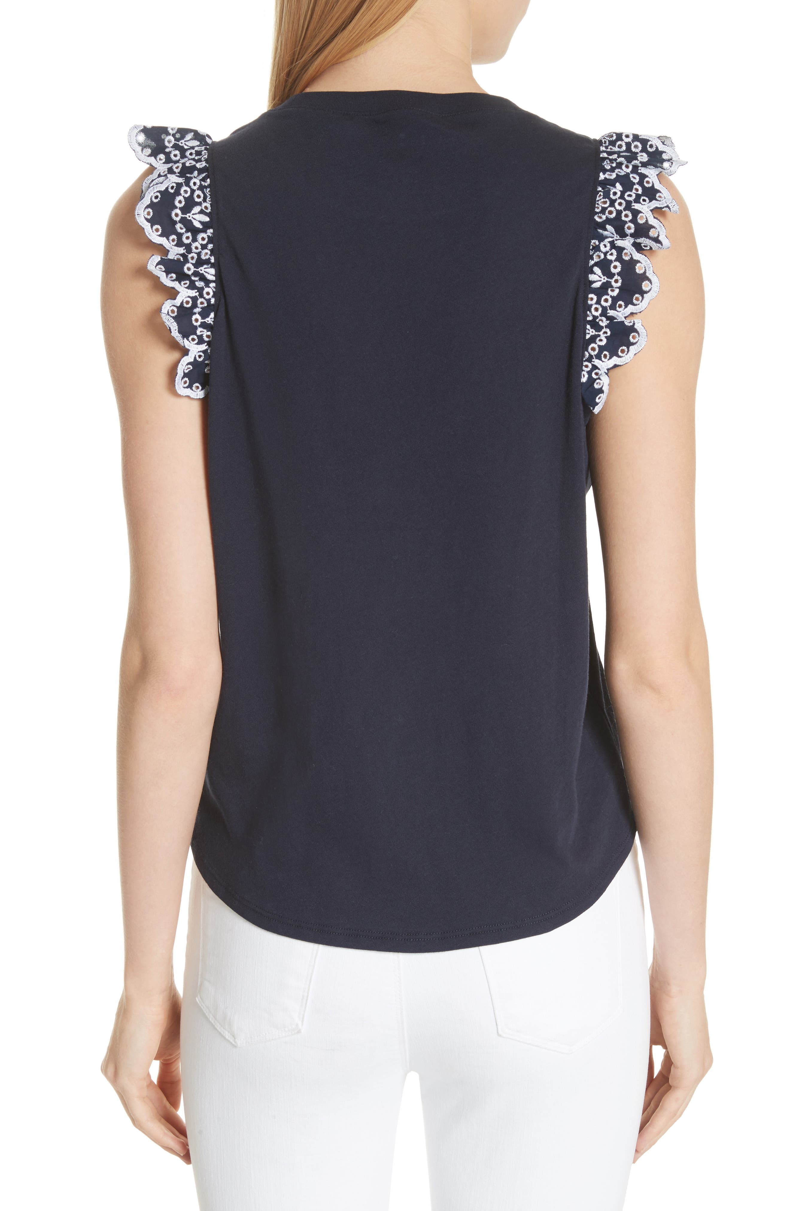 eyelet trim tee,                             Alternate thumbnail 2, color,                             473