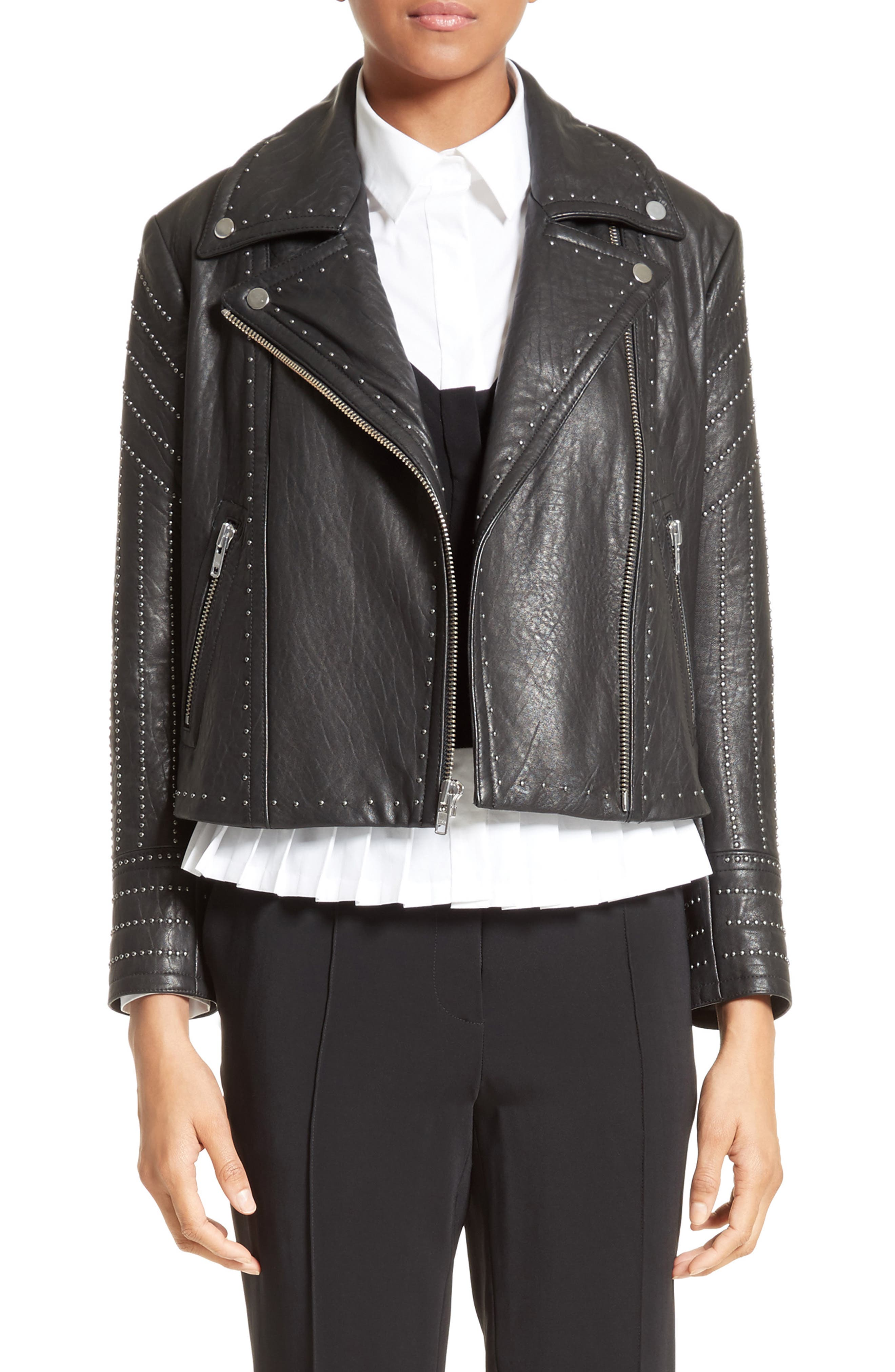 Studded Leather Jacket,                             Alternate thumbnail 7, color,                             001