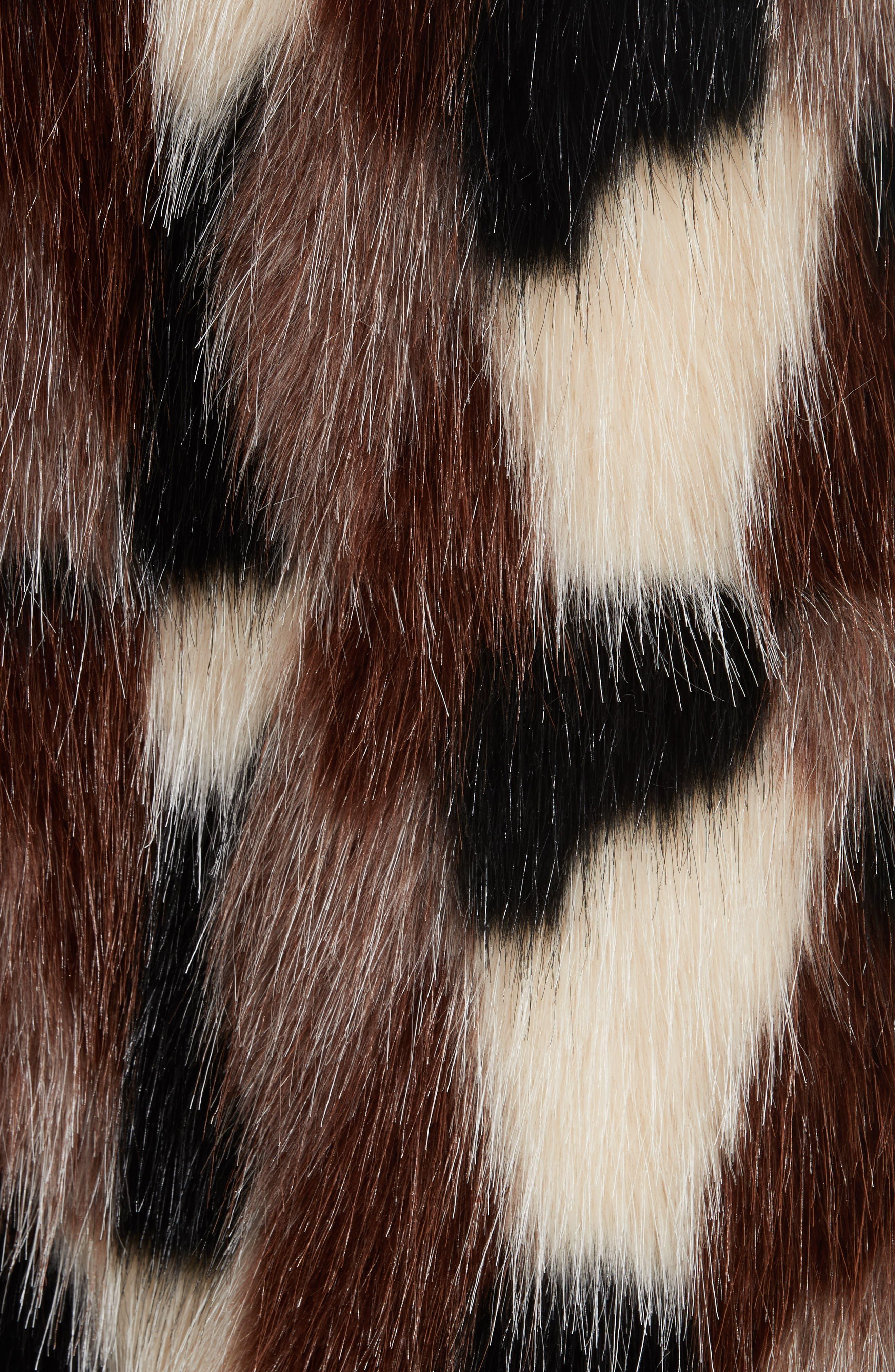 Patchwork Faux Fur Jacket,                             Alternate thumbnail 6, color,