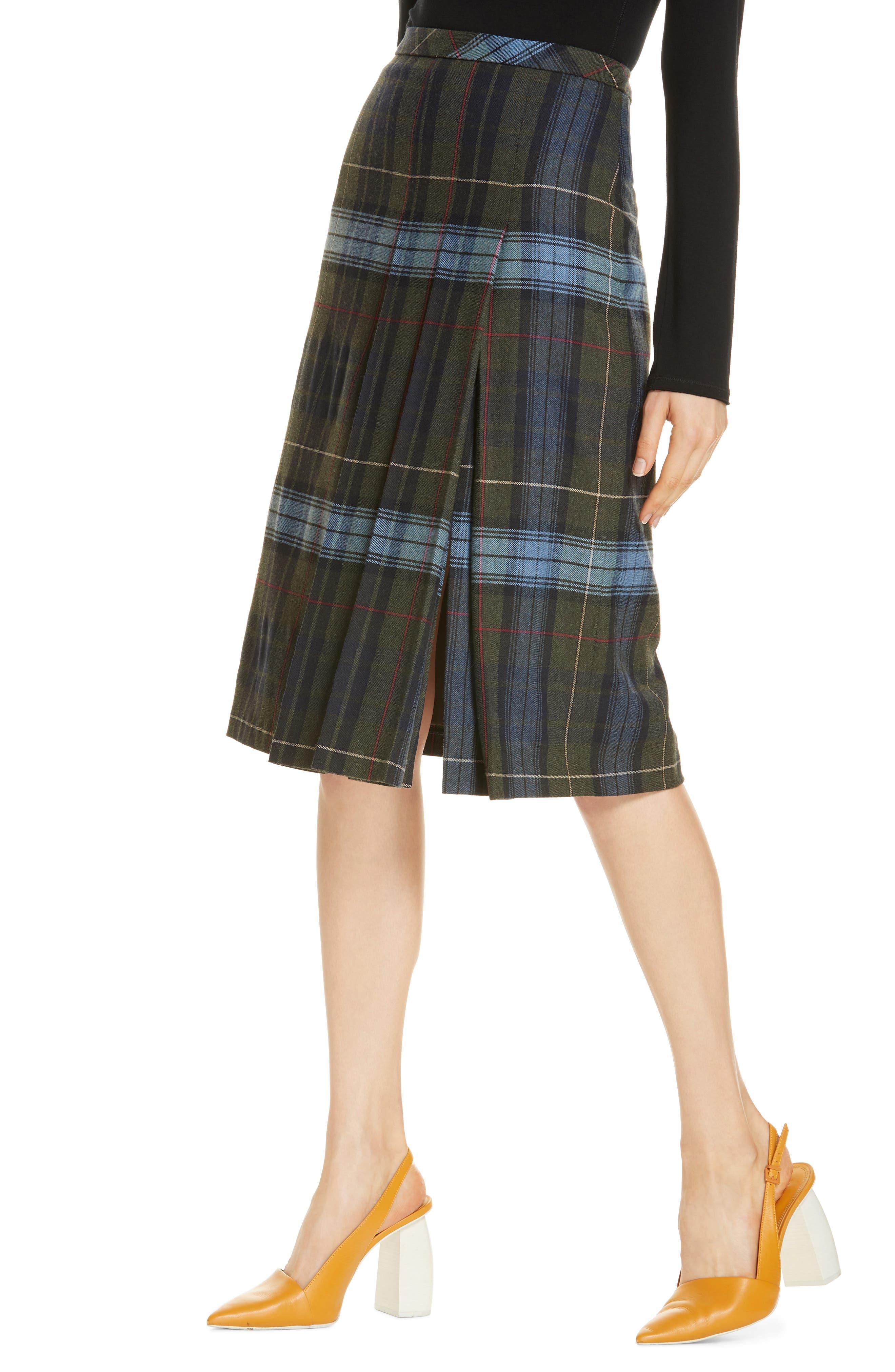 Pleat Front Plaid Skirt,                             Alternate thumbnail 4, color,                             NAVY NIGHT YORK PLAID