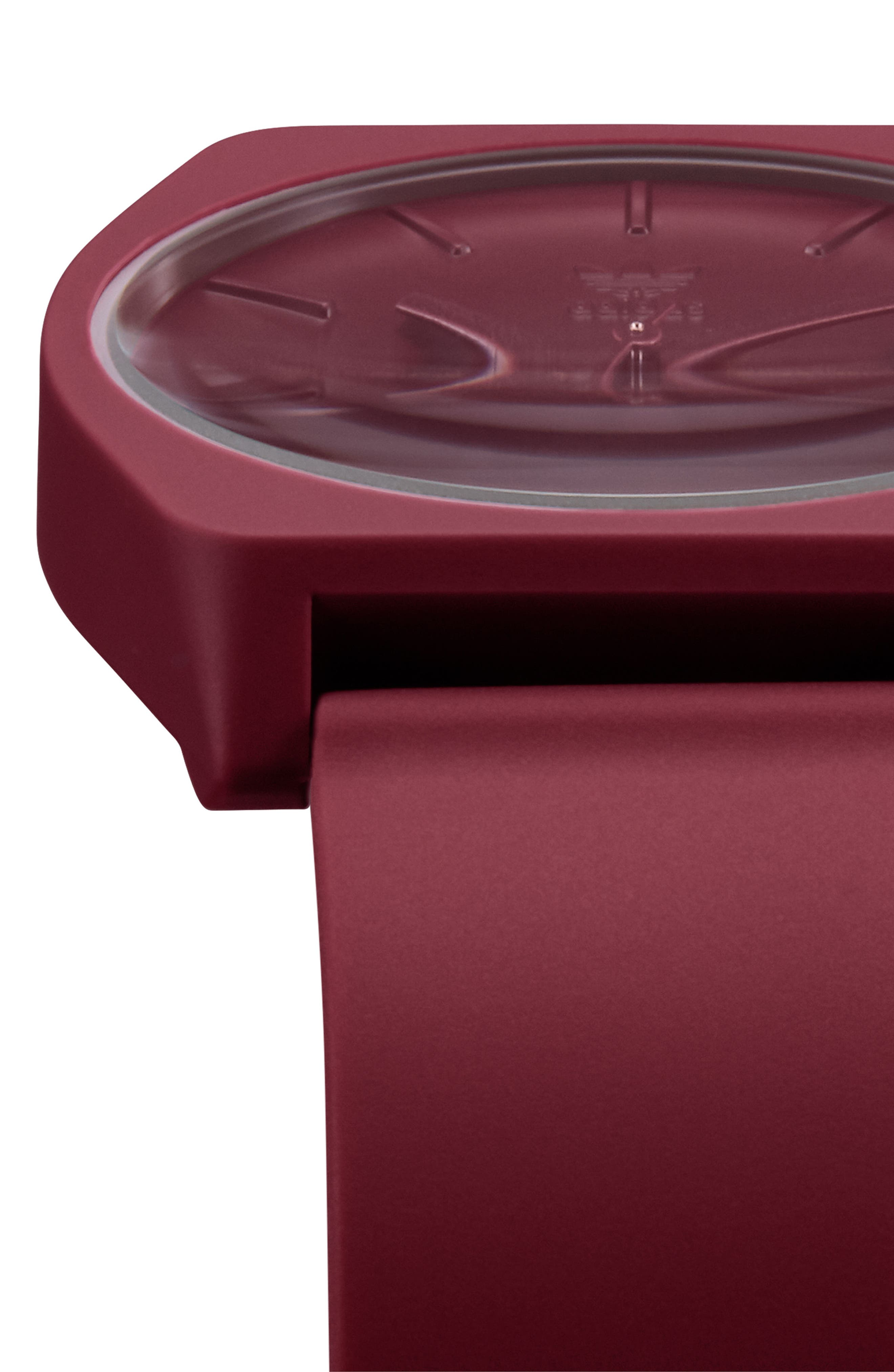 ADIDAS,                             Process Silicone Strap Watch, 38mm,                             Alternate thumbnail 5, color,                             BURGUNDY