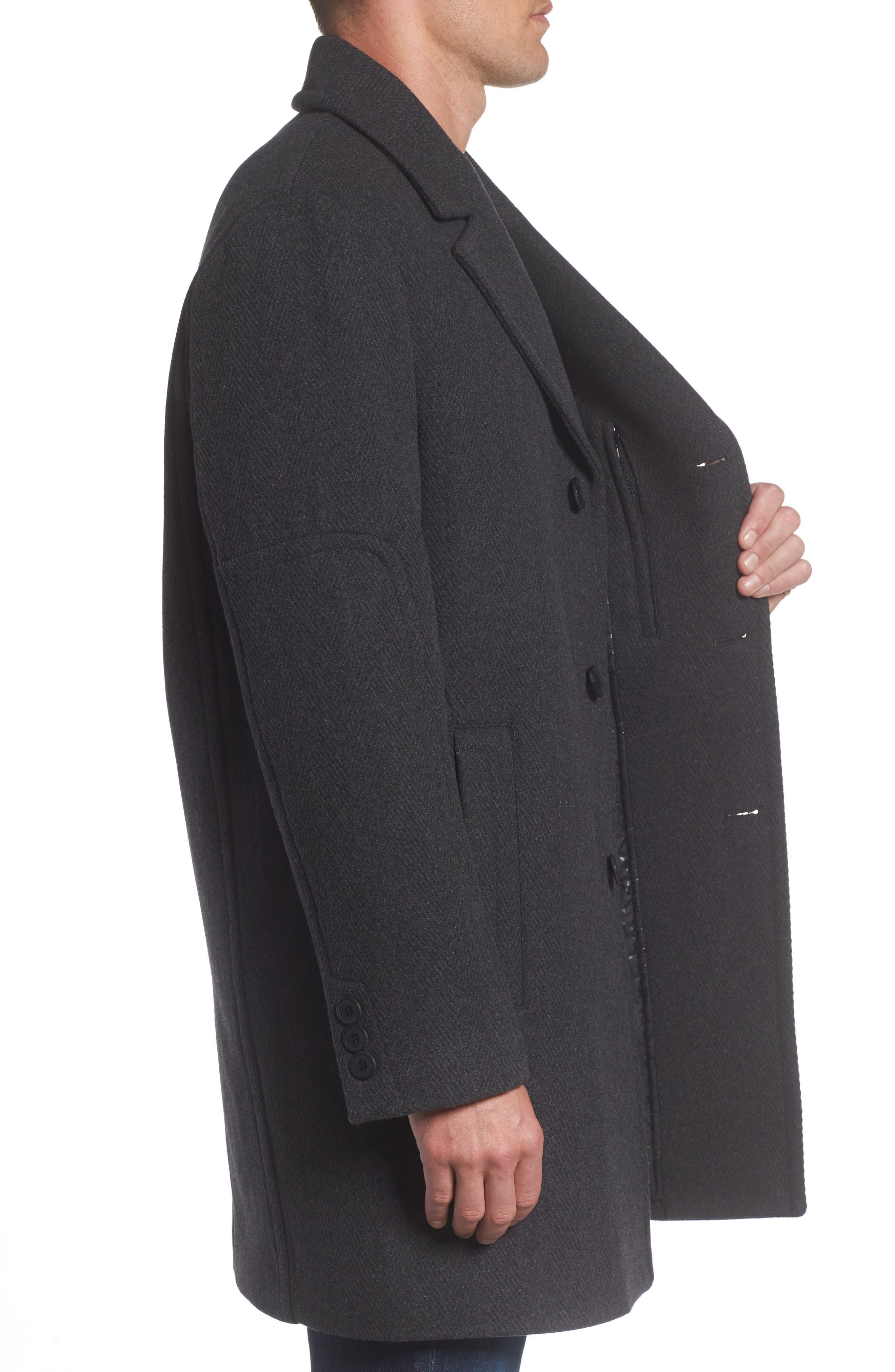 Herringbone Wool Blend Car Coat,                             Alternate thumbnail 5, color,