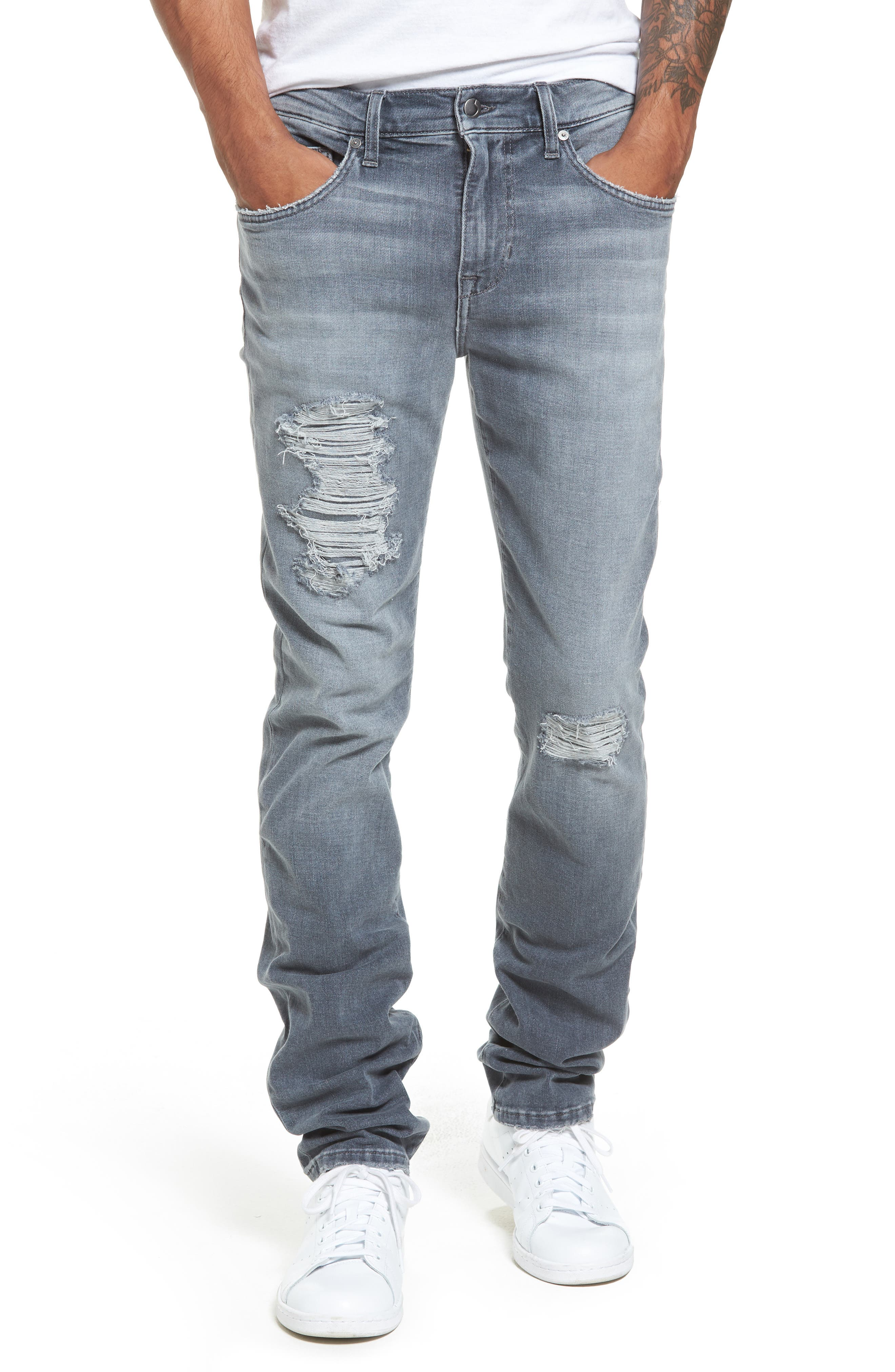 Brixton Distressed Slim Straight Fit Jeans,                             Main thumbnail 1, color,                             051