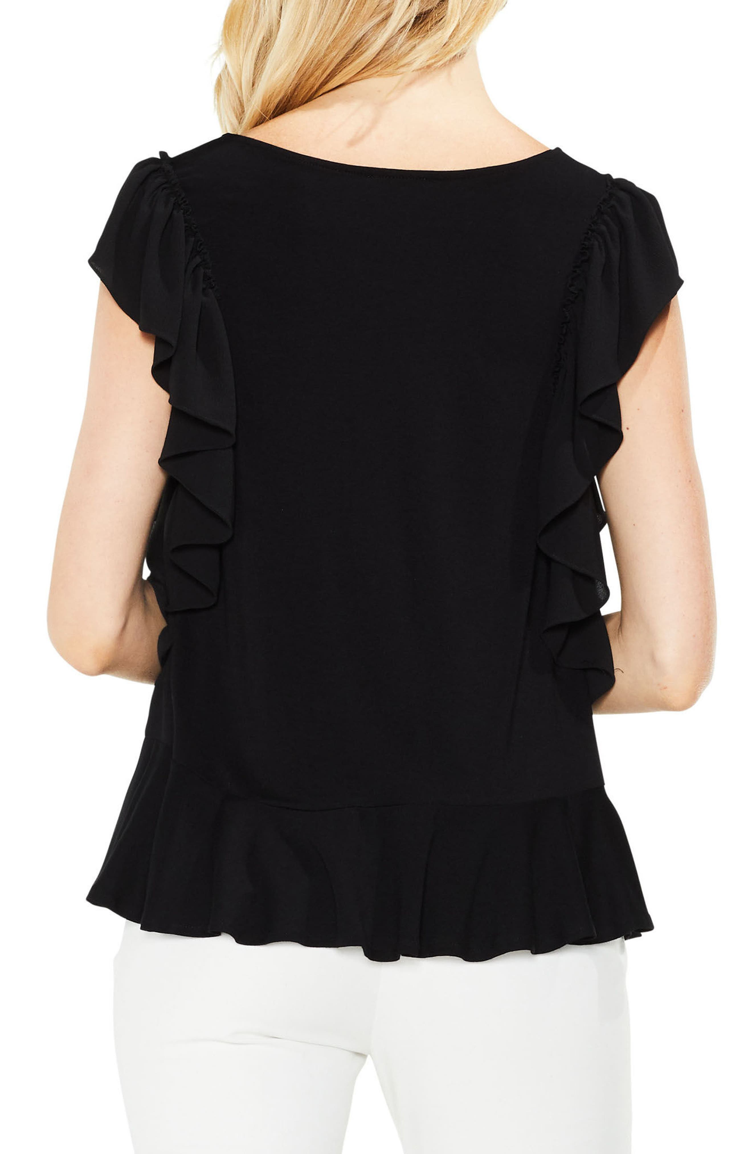 Ruffle Sleeve Mix Media Top,                             Alternate thumbnail 2, color,                             006