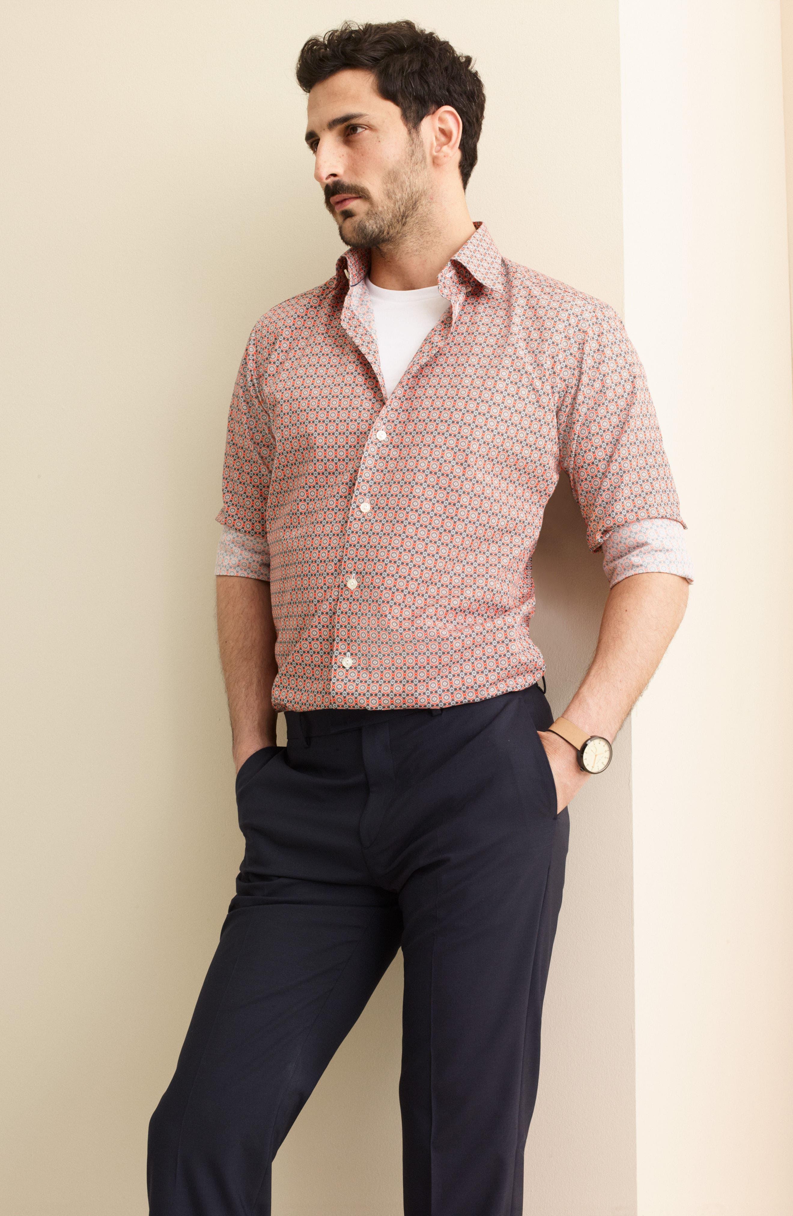 Slim Fit Floral Geometric Dress Shirt,                             Alternate thumbnail 5, color,                             YELLOW/ ORANGE