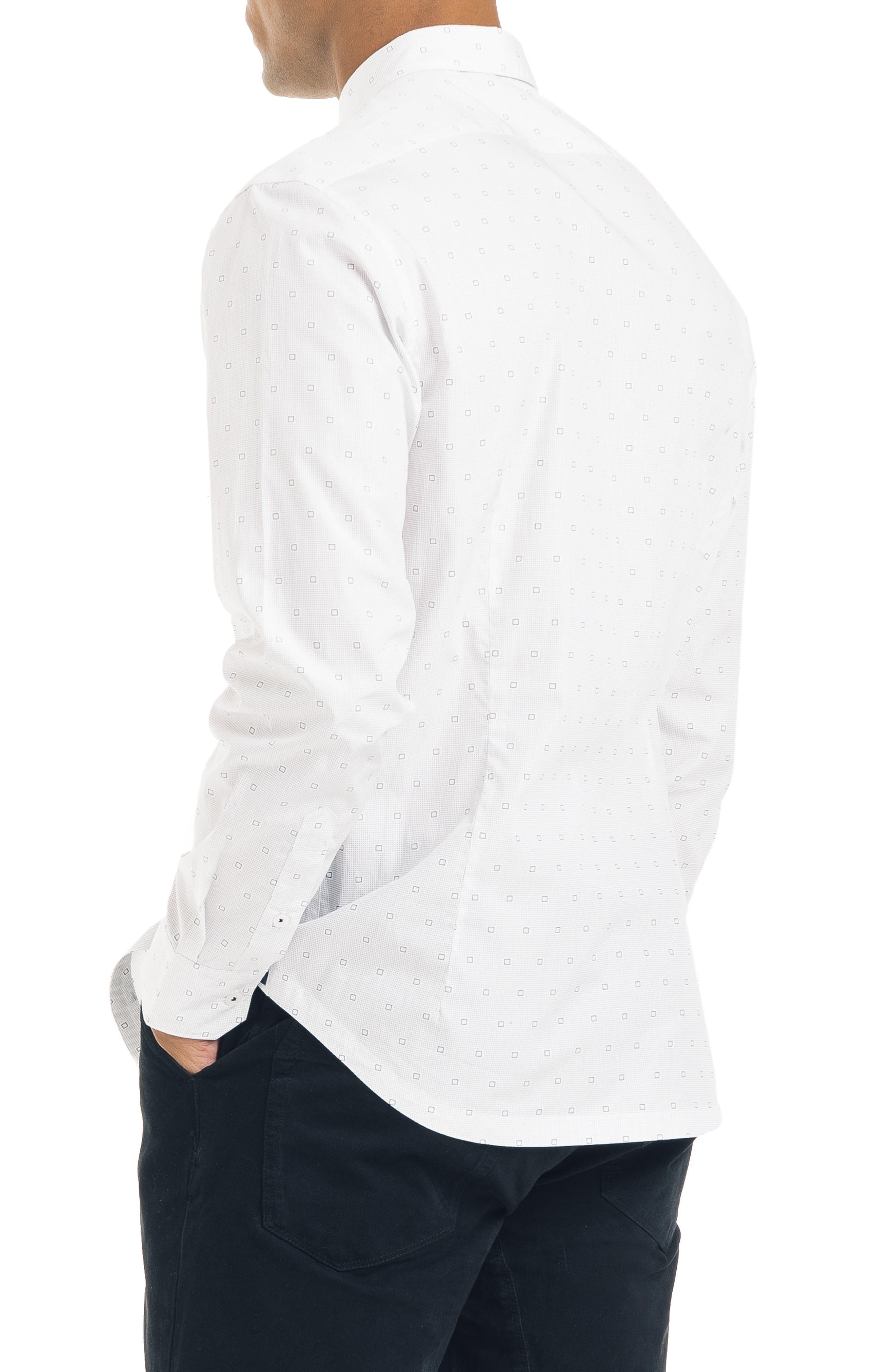 Slim Fit Geometric Sport Shirt,                             Alternate thumbnail 3, color,                             WHITE