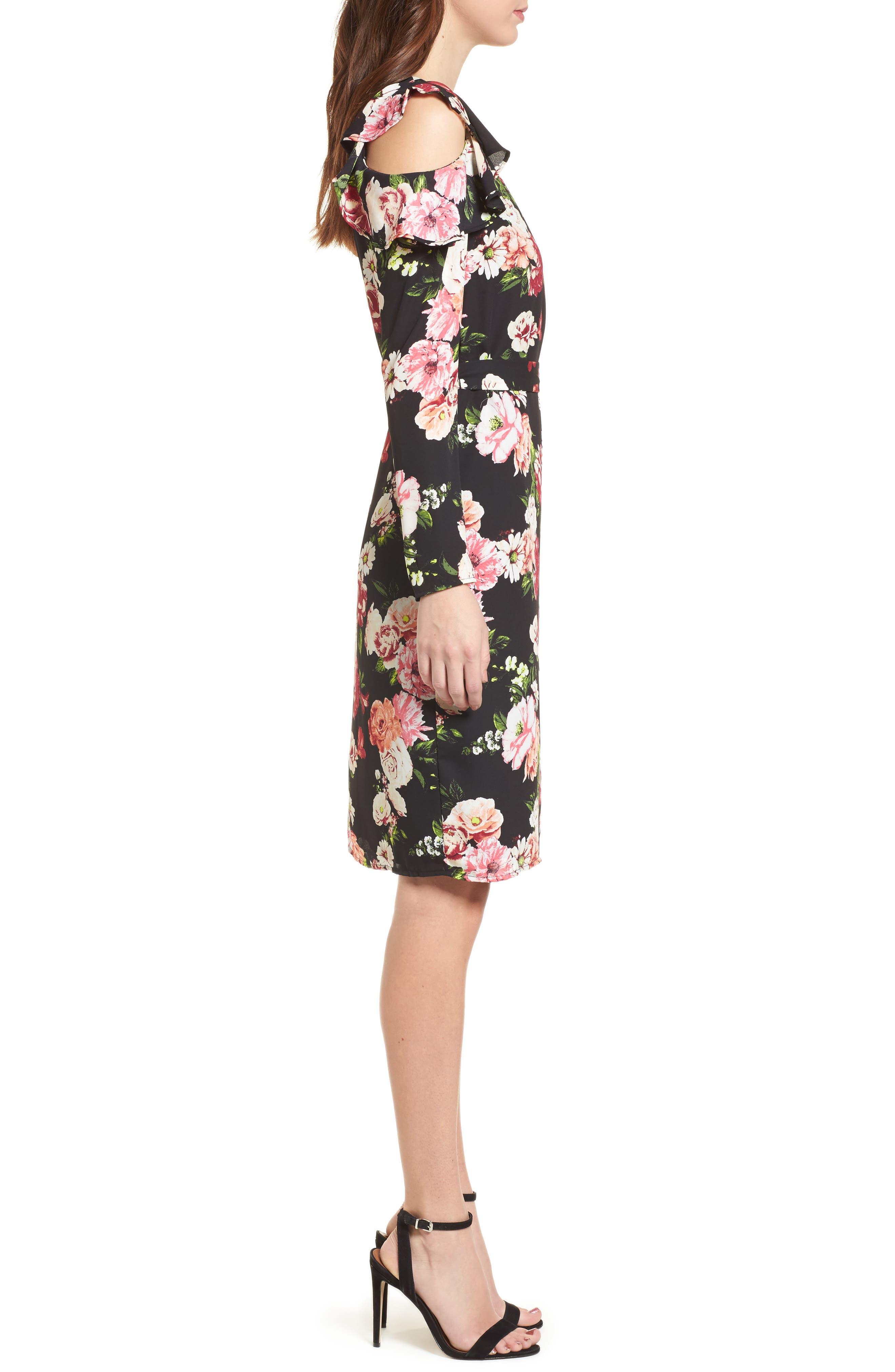 Floral Print Wrap Dress,                             Alternate thumbnail 3, color,                             002
