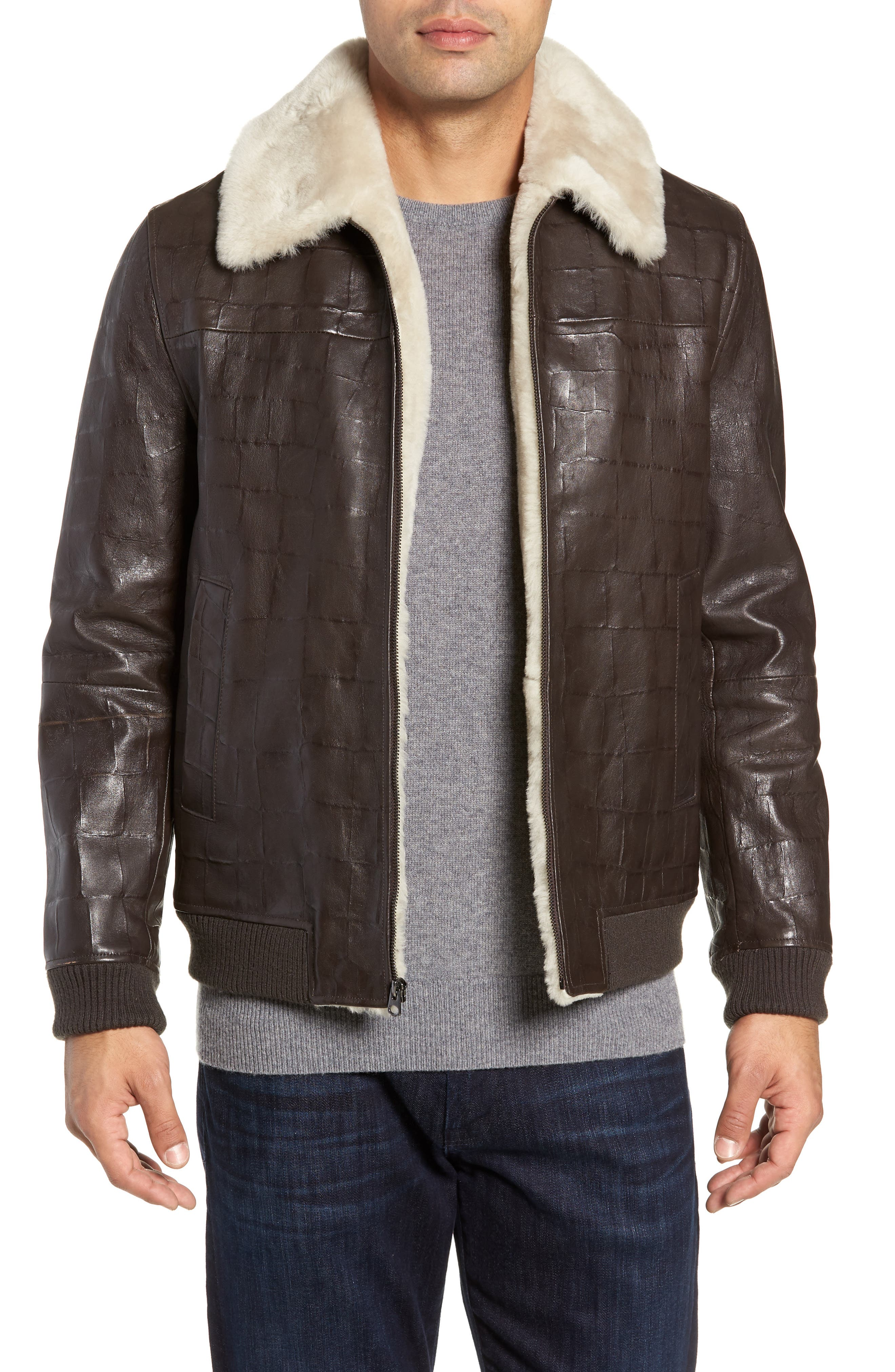 Corson Genuine Shearling Jacket,                             Main thumbnail 1, color,                             BROWN