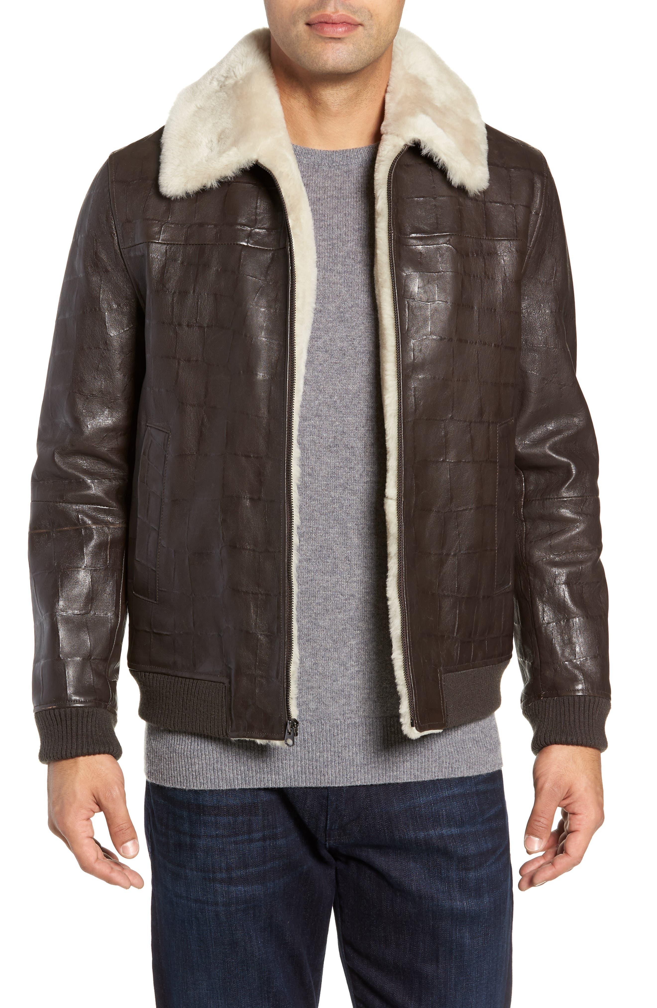 Corson Genuine Shearling Jacket,                         Main,                         color, BROWN