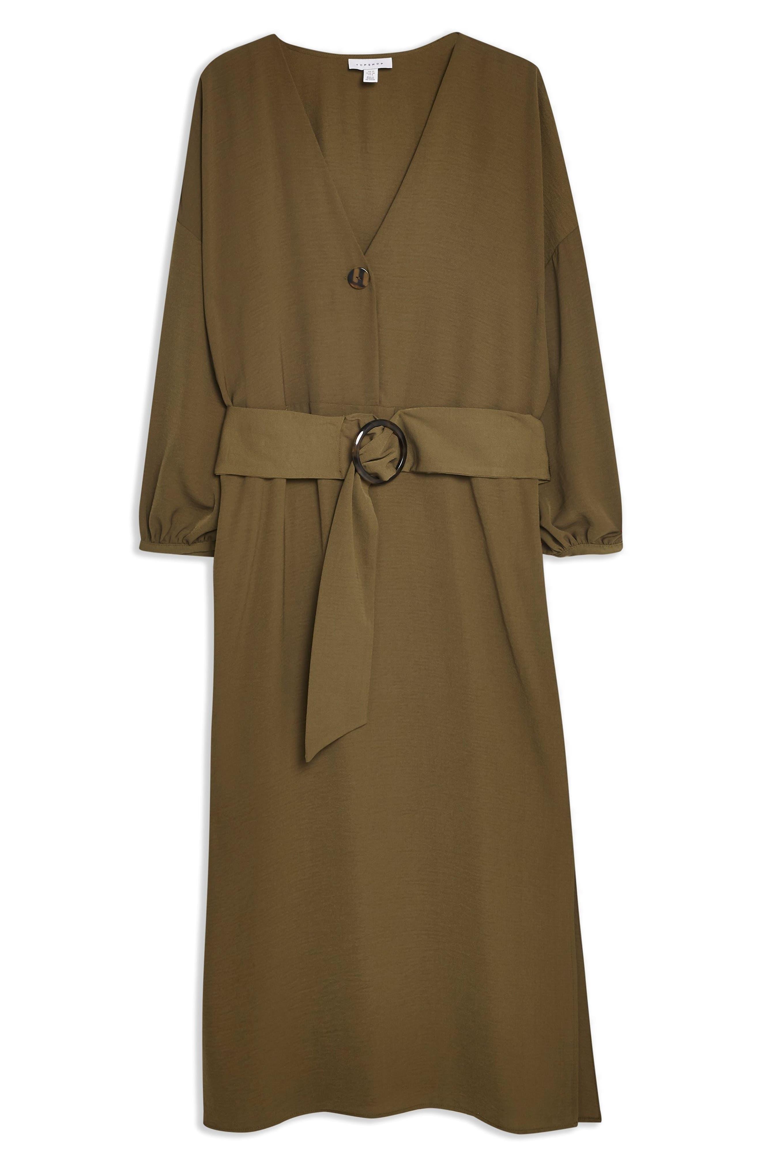 Belted Midi Dress,                             Alternate thumbnail 3, color,                             OLIVE