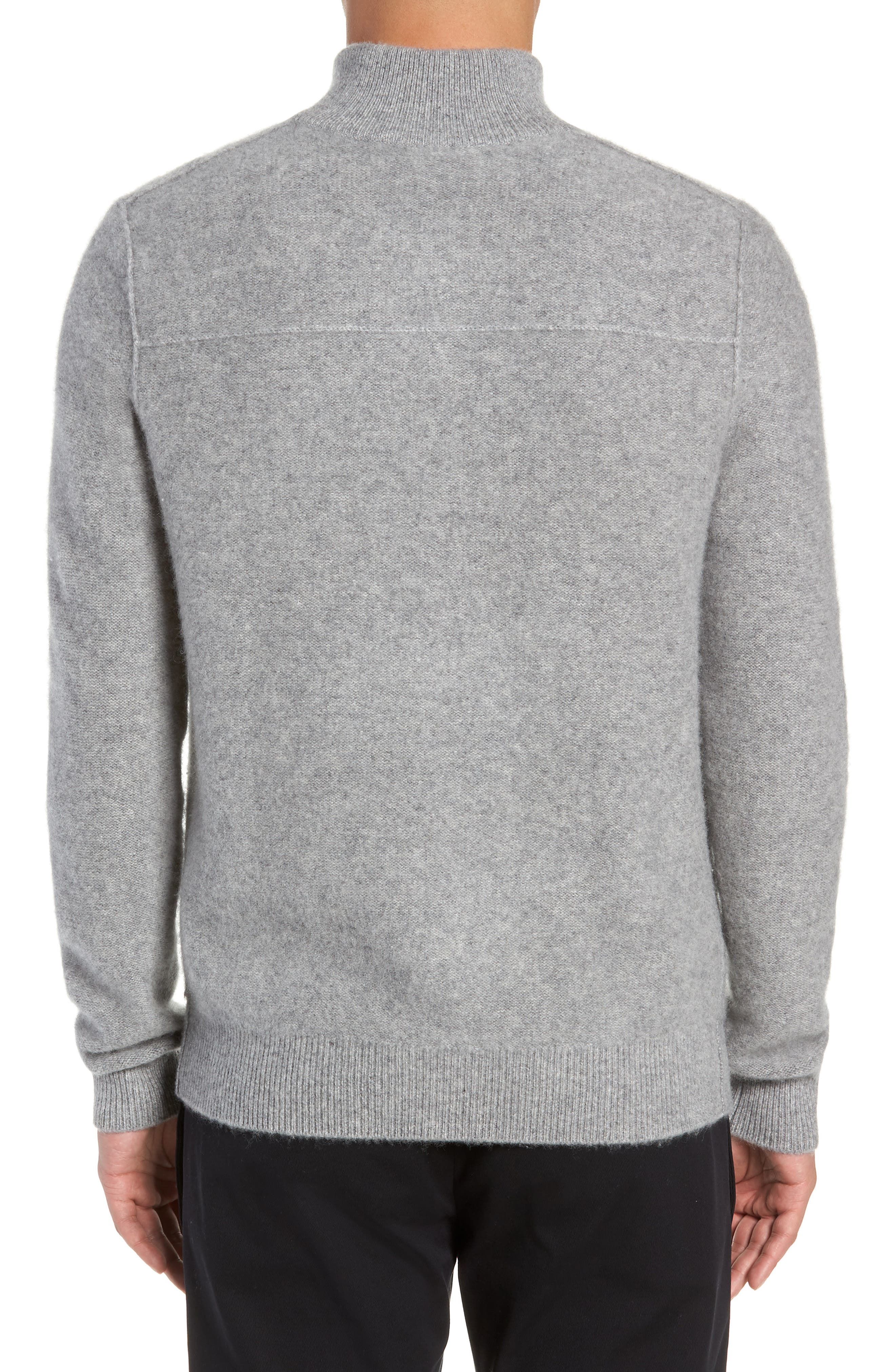 Cashmere Quarter Zip Sweater,                             Alternate thumbnail 2, color,                             H GREY