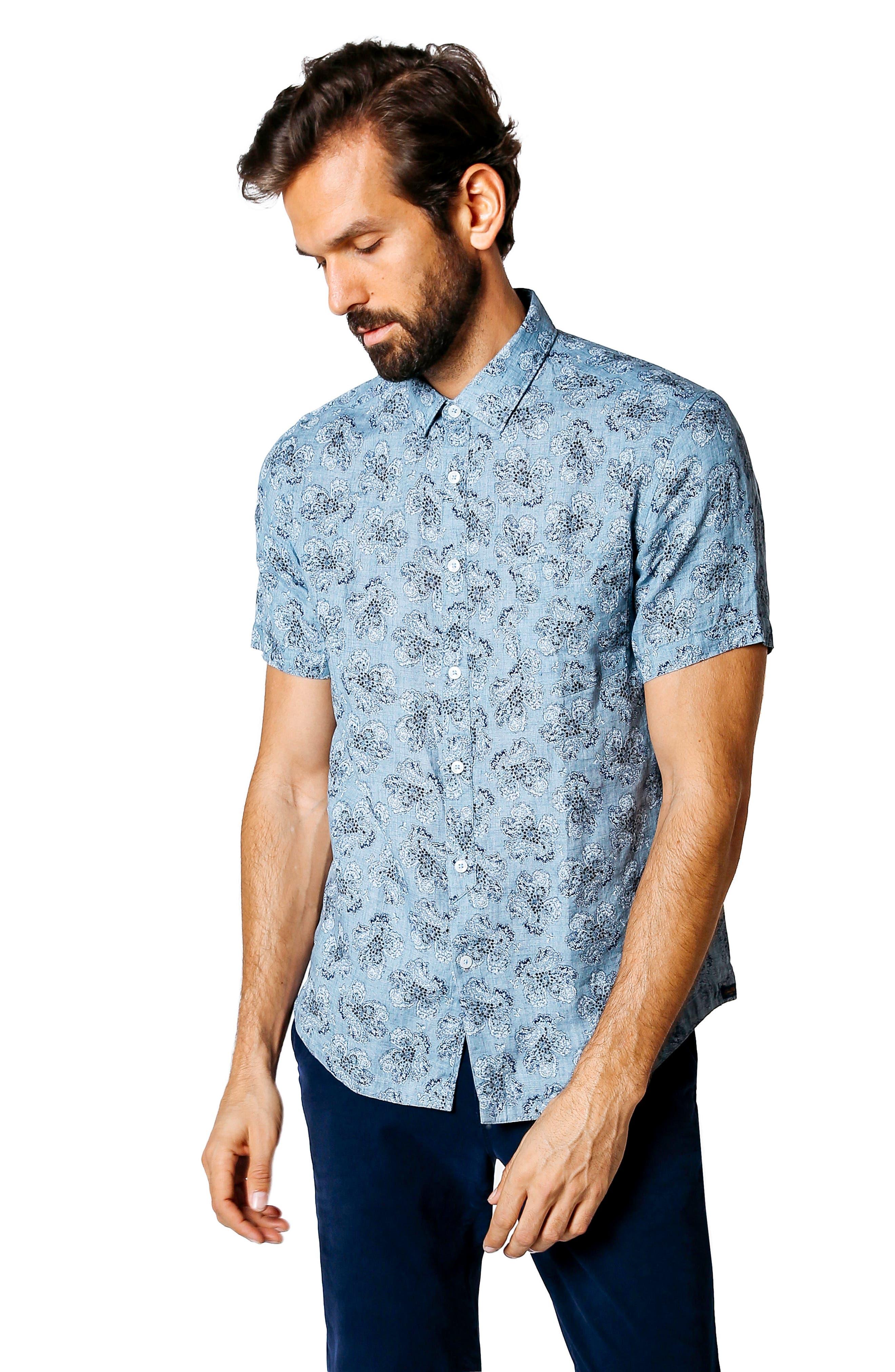 Tokyo Slim Fit Floral Short Sleeve Sport Shirt,                             Alternate thumbnail 7, color,                             INDIGO