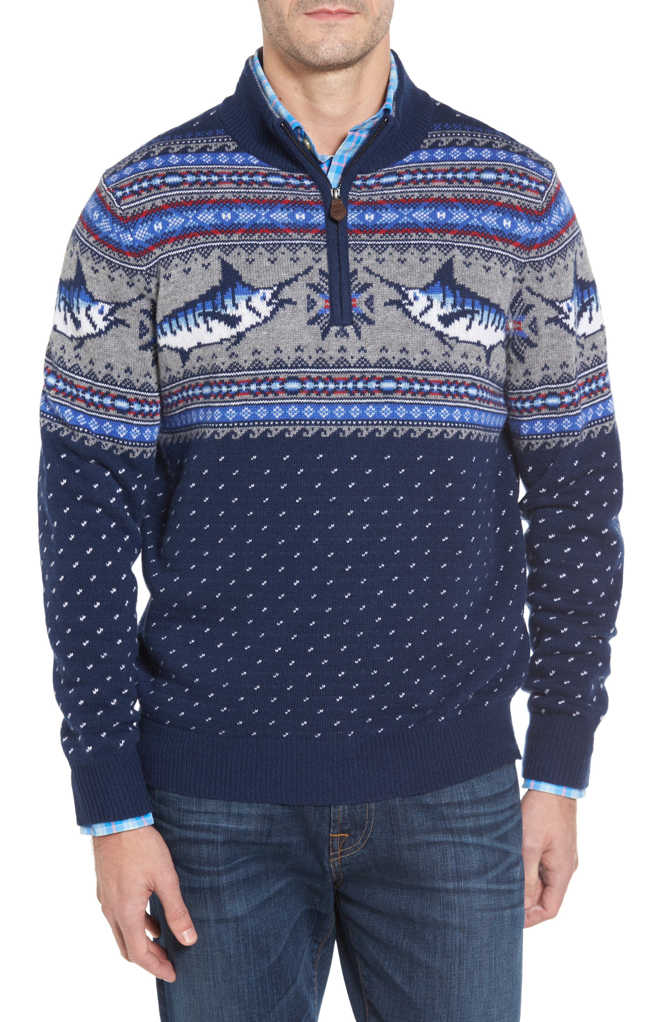 Marlin Fair Isle Quarter Zip Sweater,                             Main thumbnail 1, color,                             400