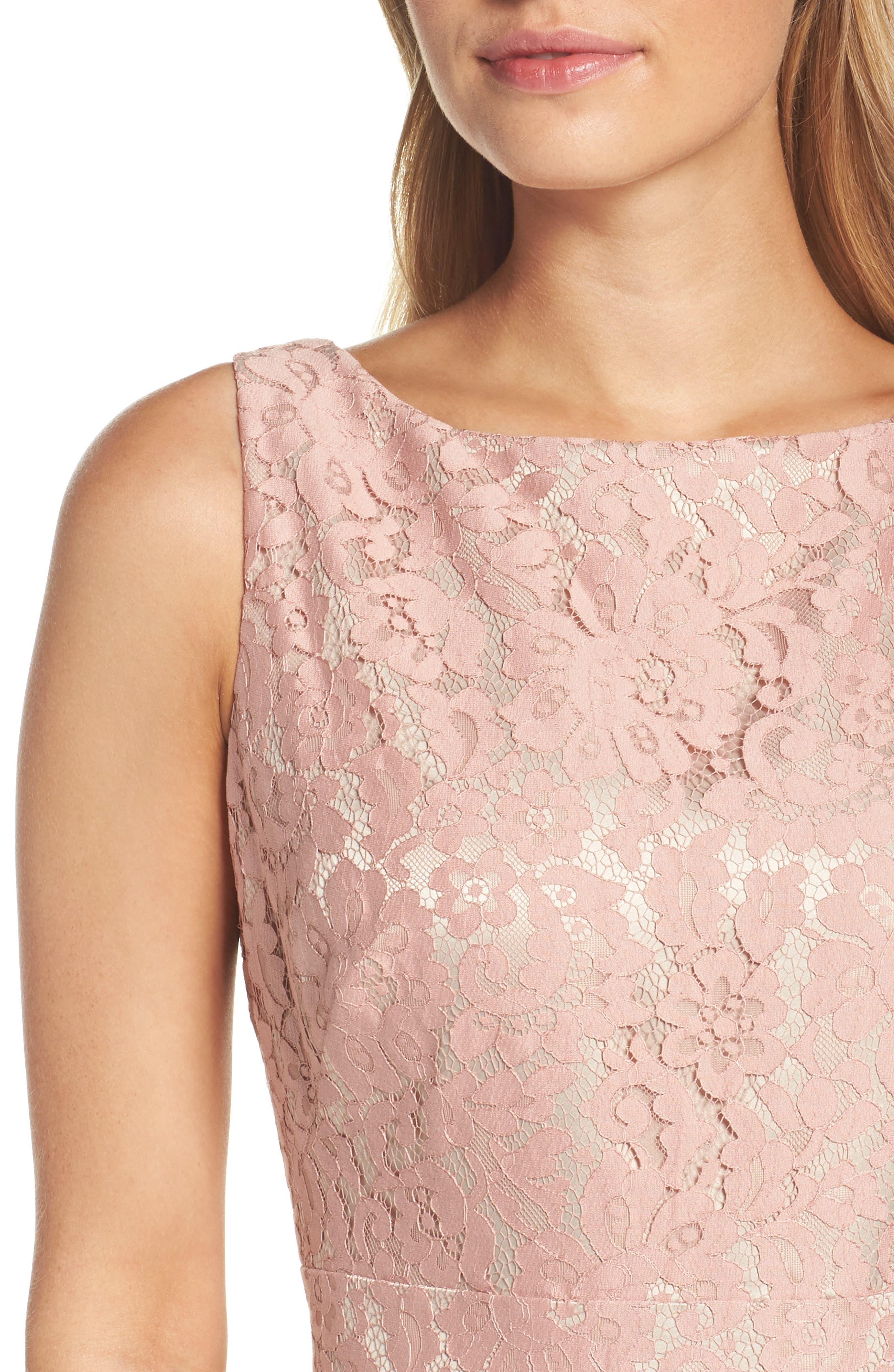 Lace Fit & Flare Dress,                             Alternate thumbnail 4, color,                             660