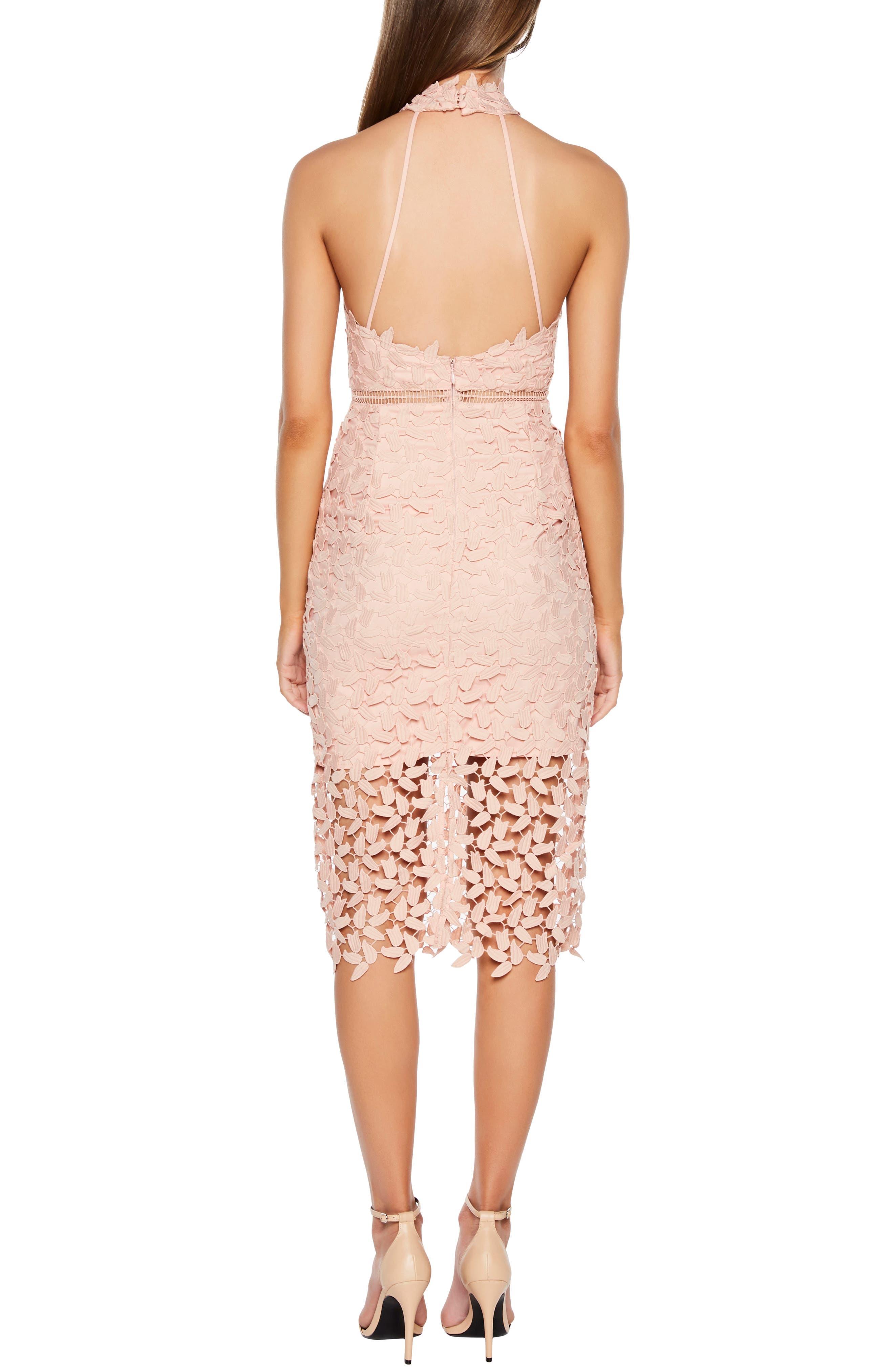 Gemma Halter Lace Sheath Dress,                             Alternate thumbnail 2, color,                             LATTE PINK
