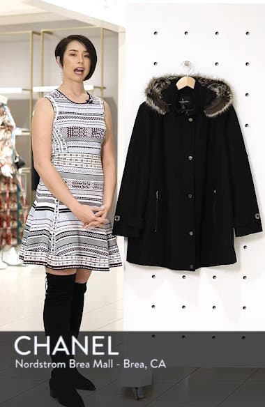 Hooded Wool Blend Coat with Faux Fur Trim, sales video thumbnail