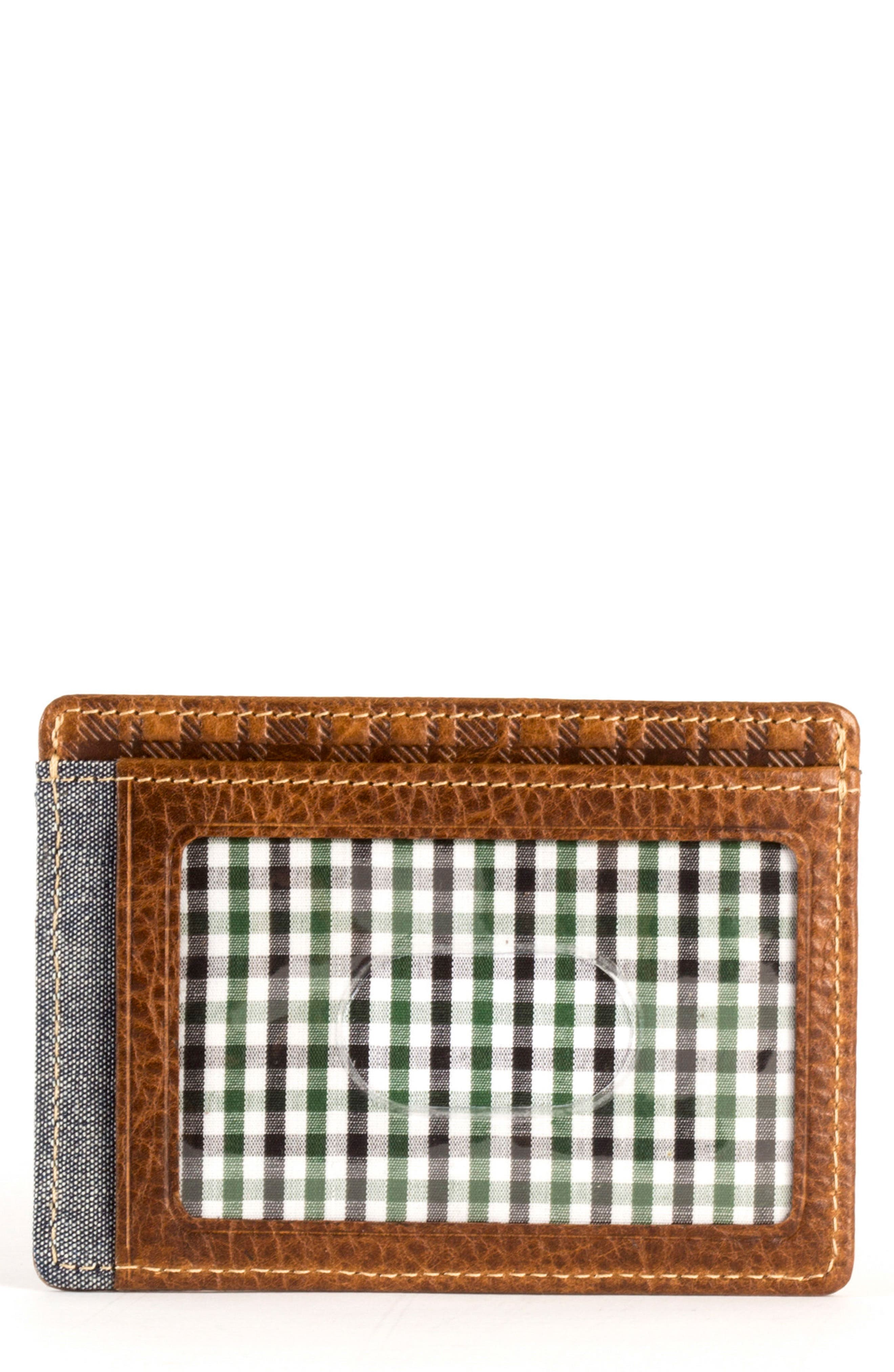 Caleb LTE Leather Card Case,                         Main,                         color, CHESTNUT/ CHAMBRAY