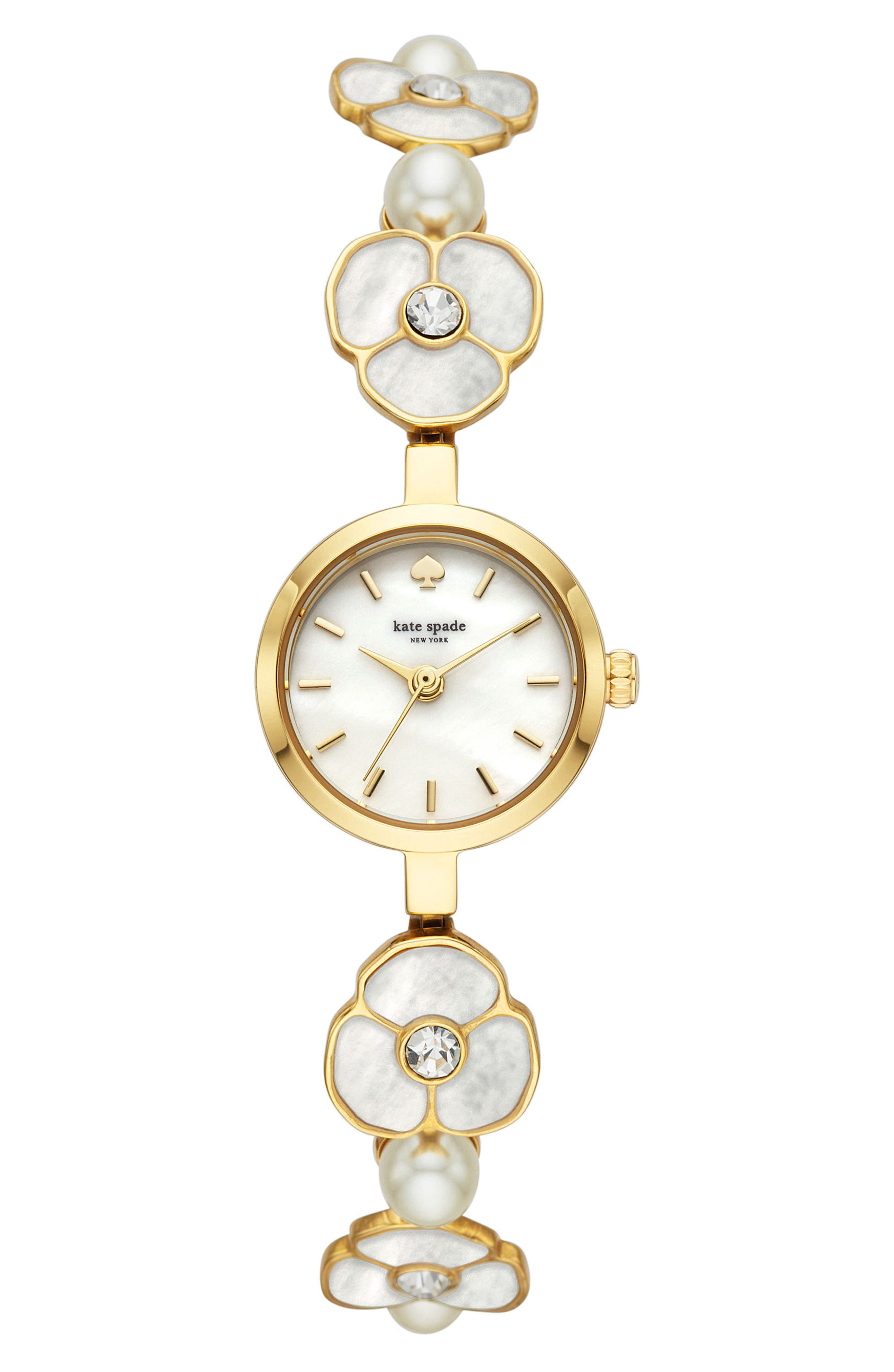 kate spade metro bracelet watch, 21mm,                             Main thumbnail 1, color,                             GOLD/ MOP/ GOLD