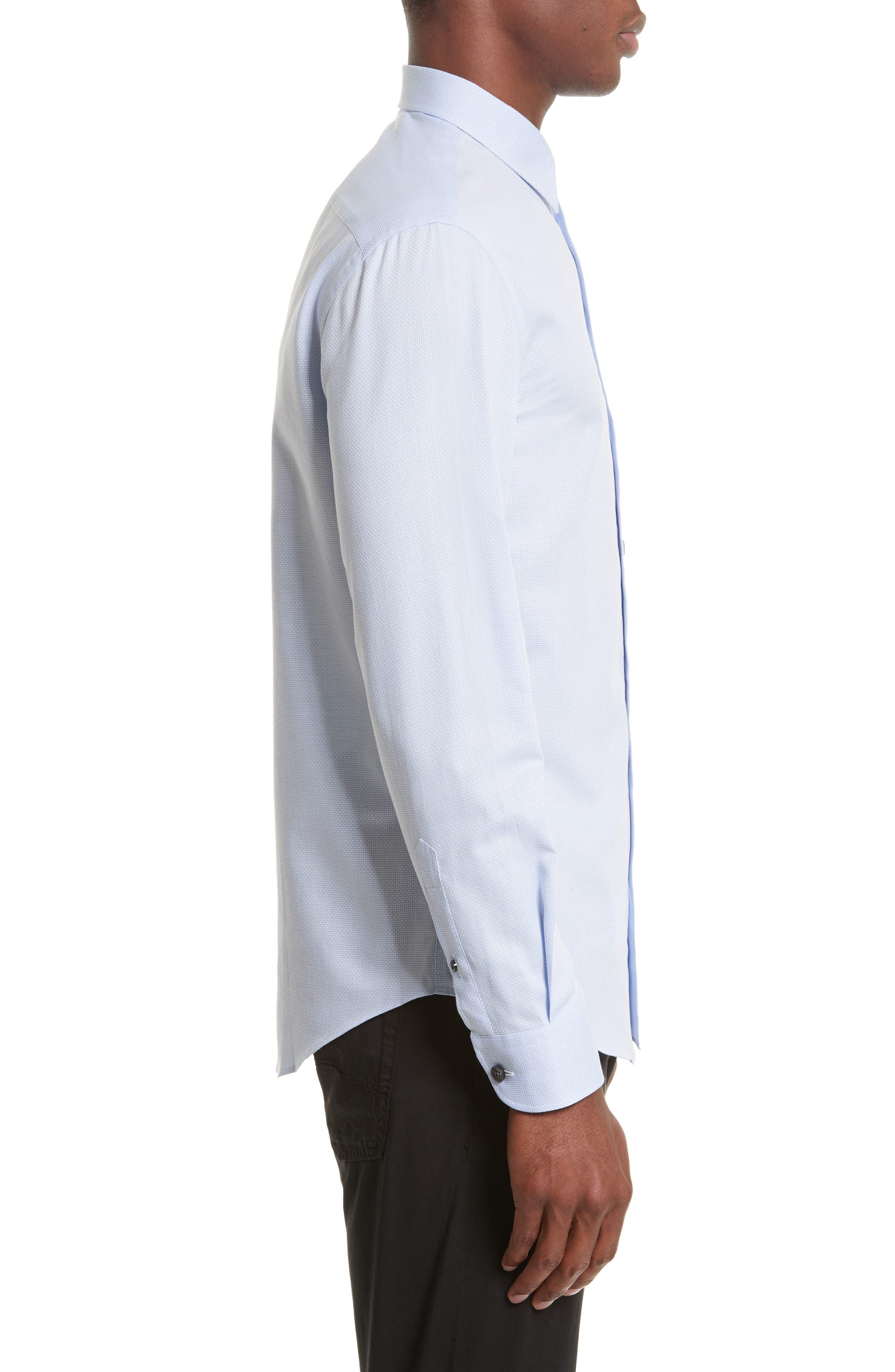 Geometric Neat Jacquard Sport Shirt,                             Alternate thumbnail 3, color,                             491