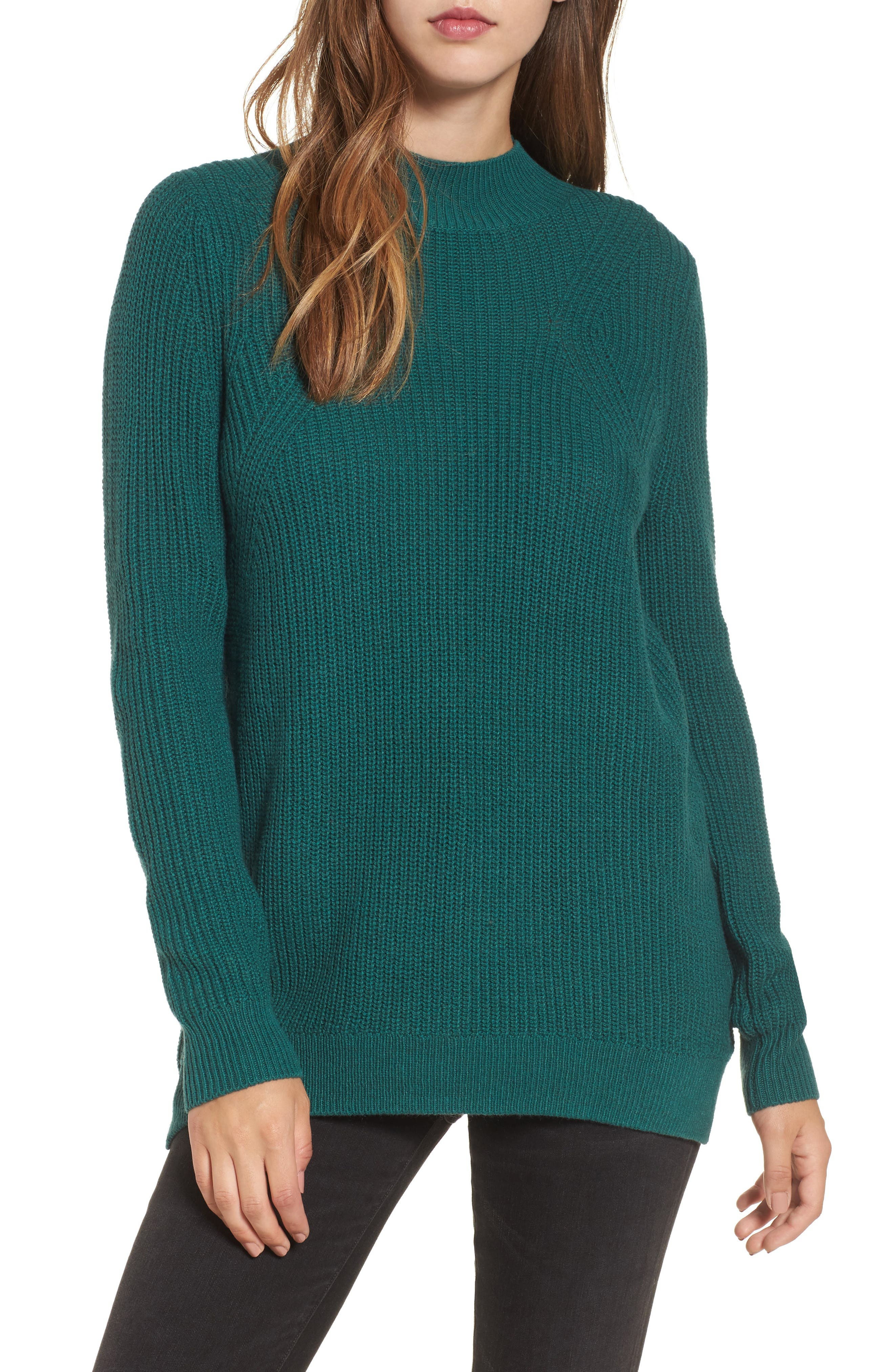 Mock Neck Tunic Sweater,                             Main thumbnail 4, color,