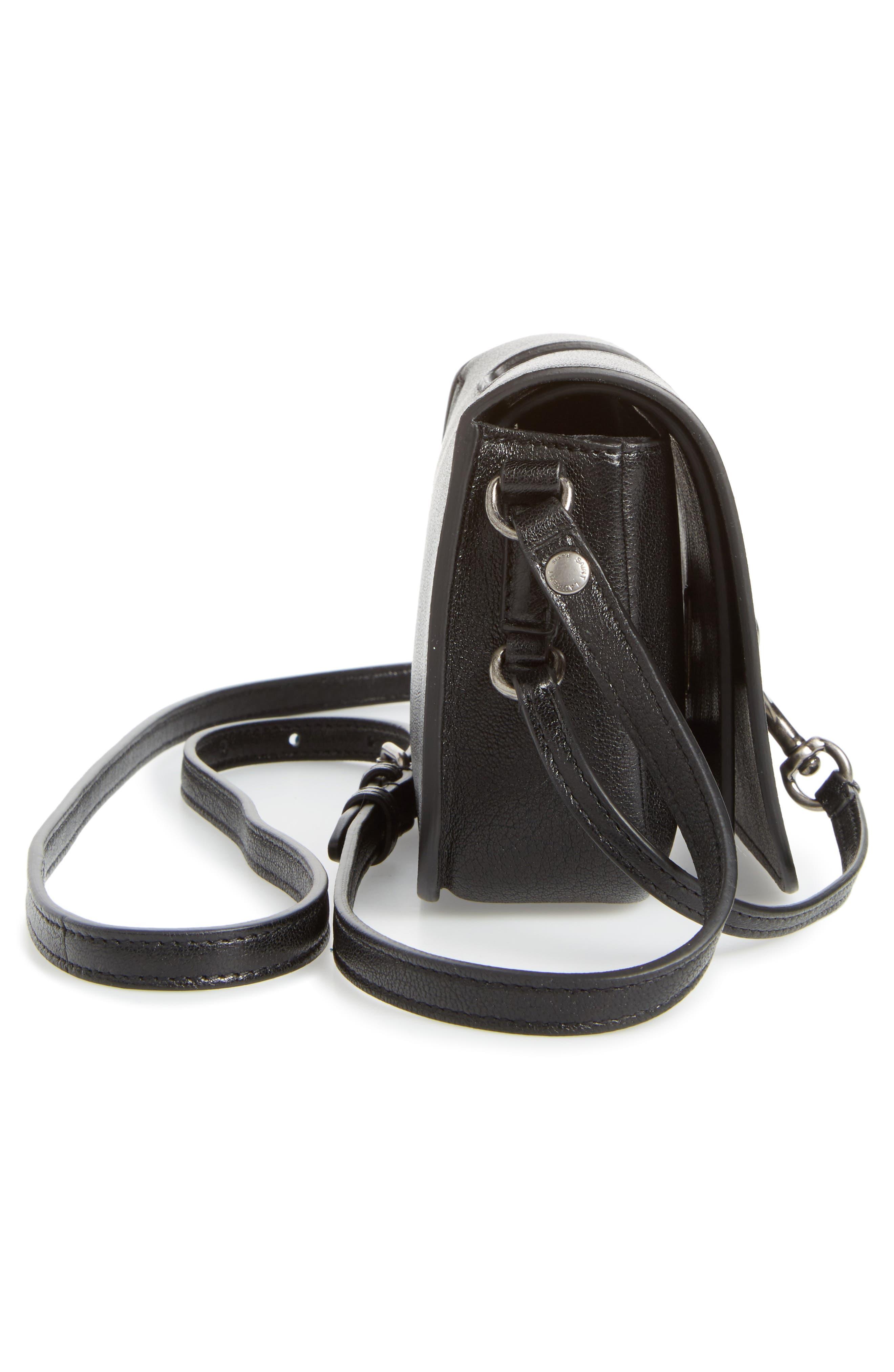 Calfskin Leather Crossbody Bag,                             Alternate thumbnail 5, color,                             001