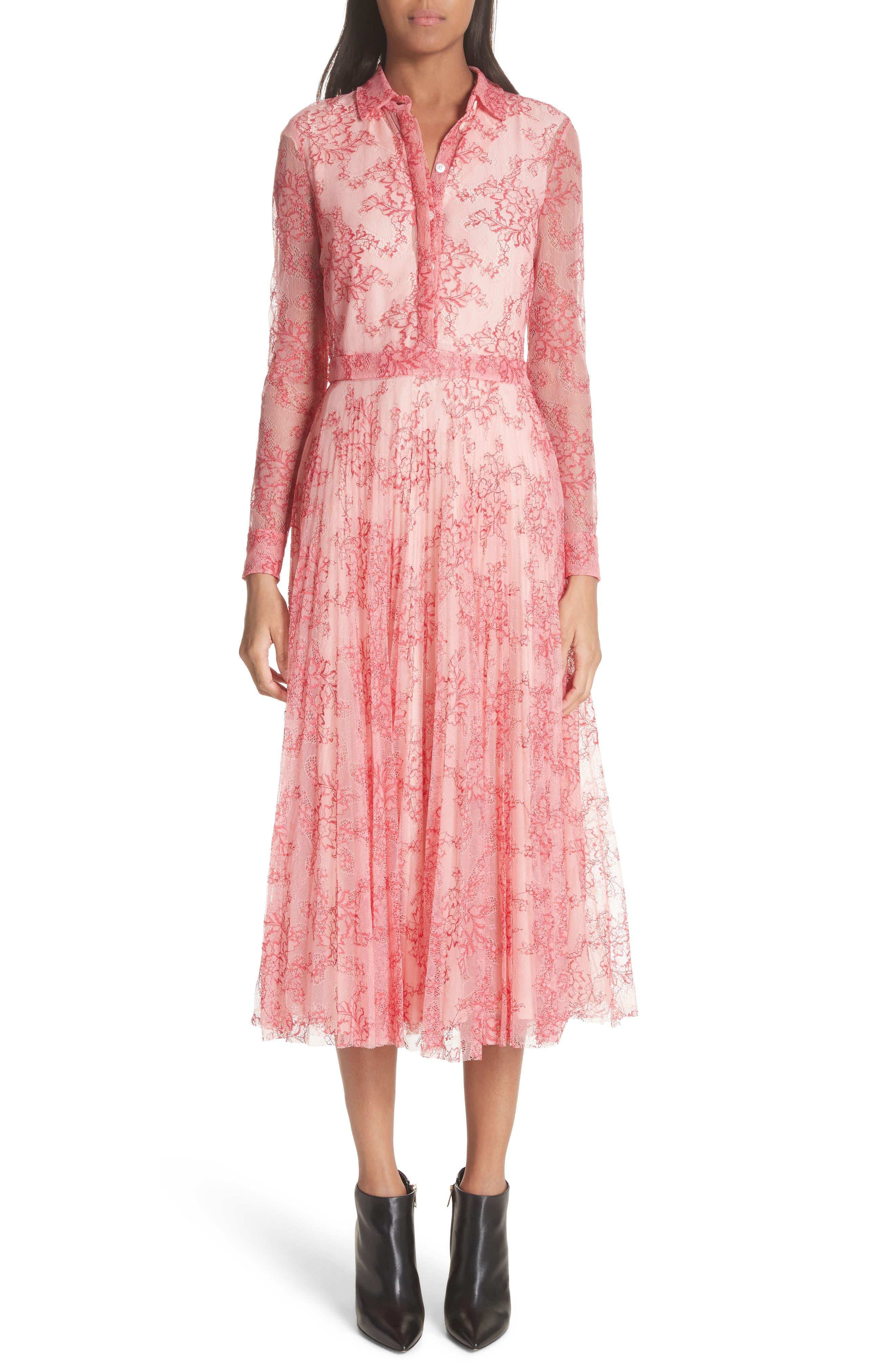 Clementine Floral Lace Midi Dress,                             Alternate thumbnail 5, color,                             956