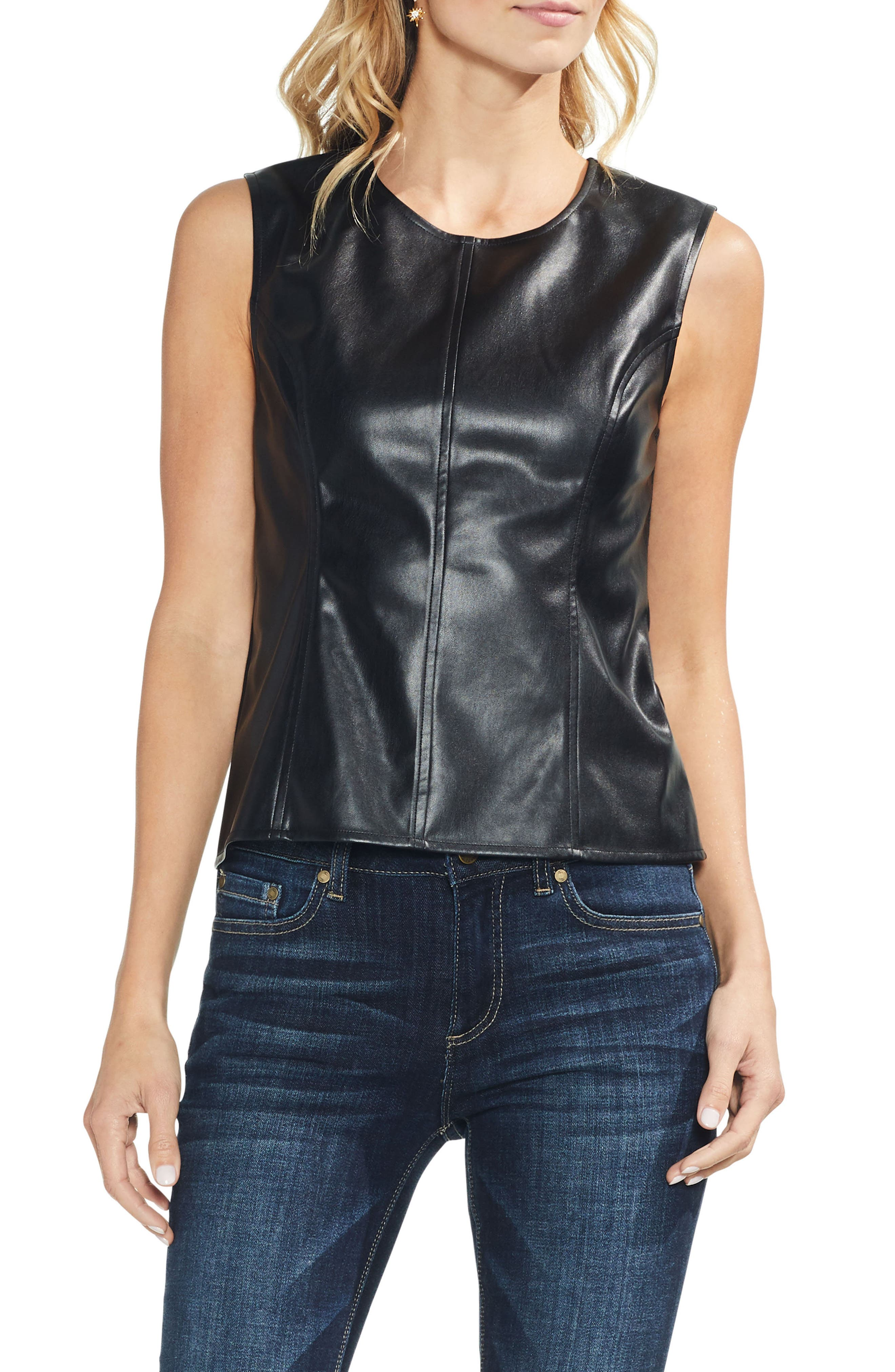 Faux Leather Front Shell,                             Main thumbnail 1, color,                             RICH BLACK