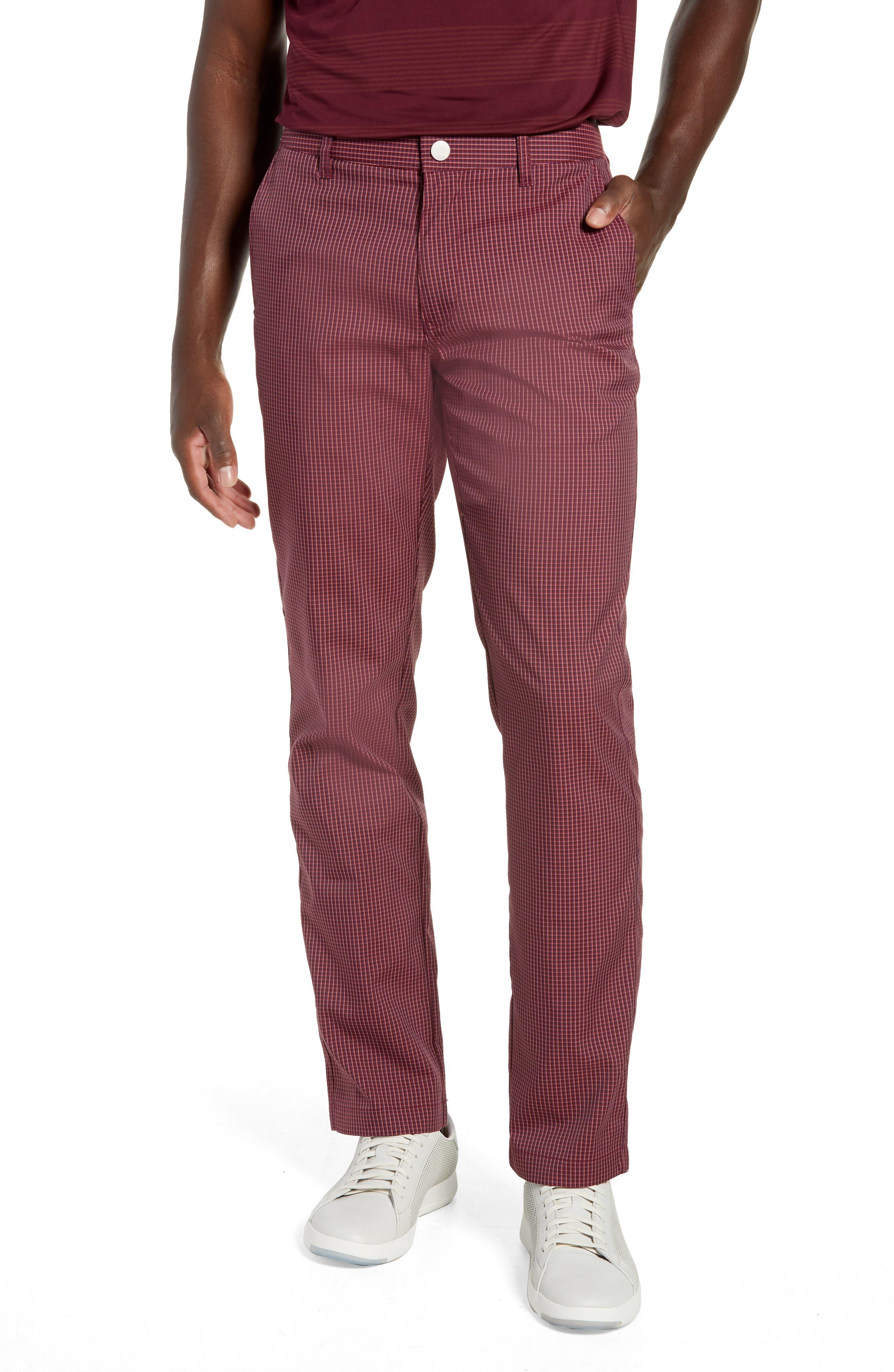 Highland Slim Fit Golf Pants,                         Main,                         color, RED PLAID